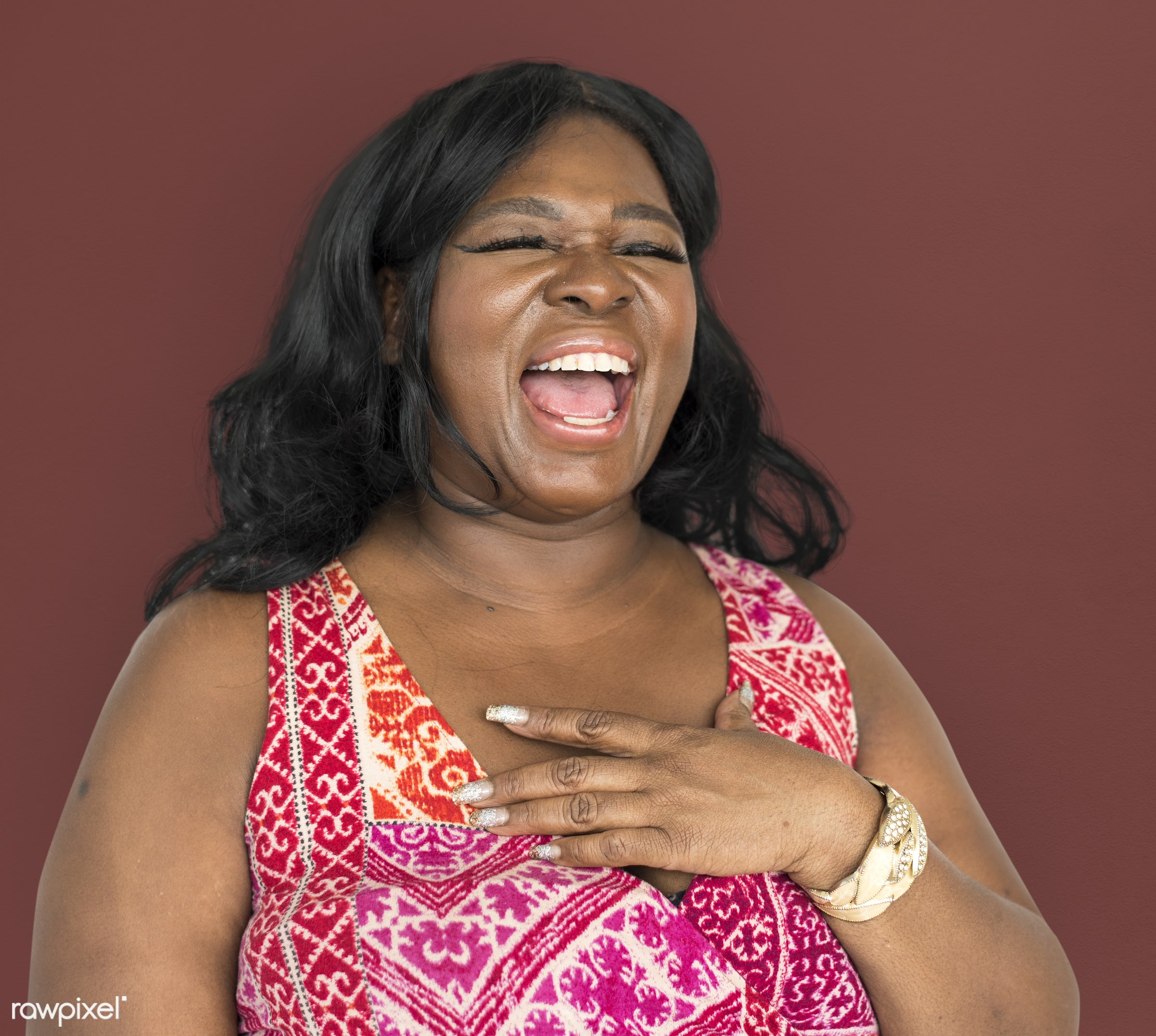 studio, expression, person, joy, people, girl, joyous, woman, happy, smile, positive, cheerful, smiling, black, isolated,...