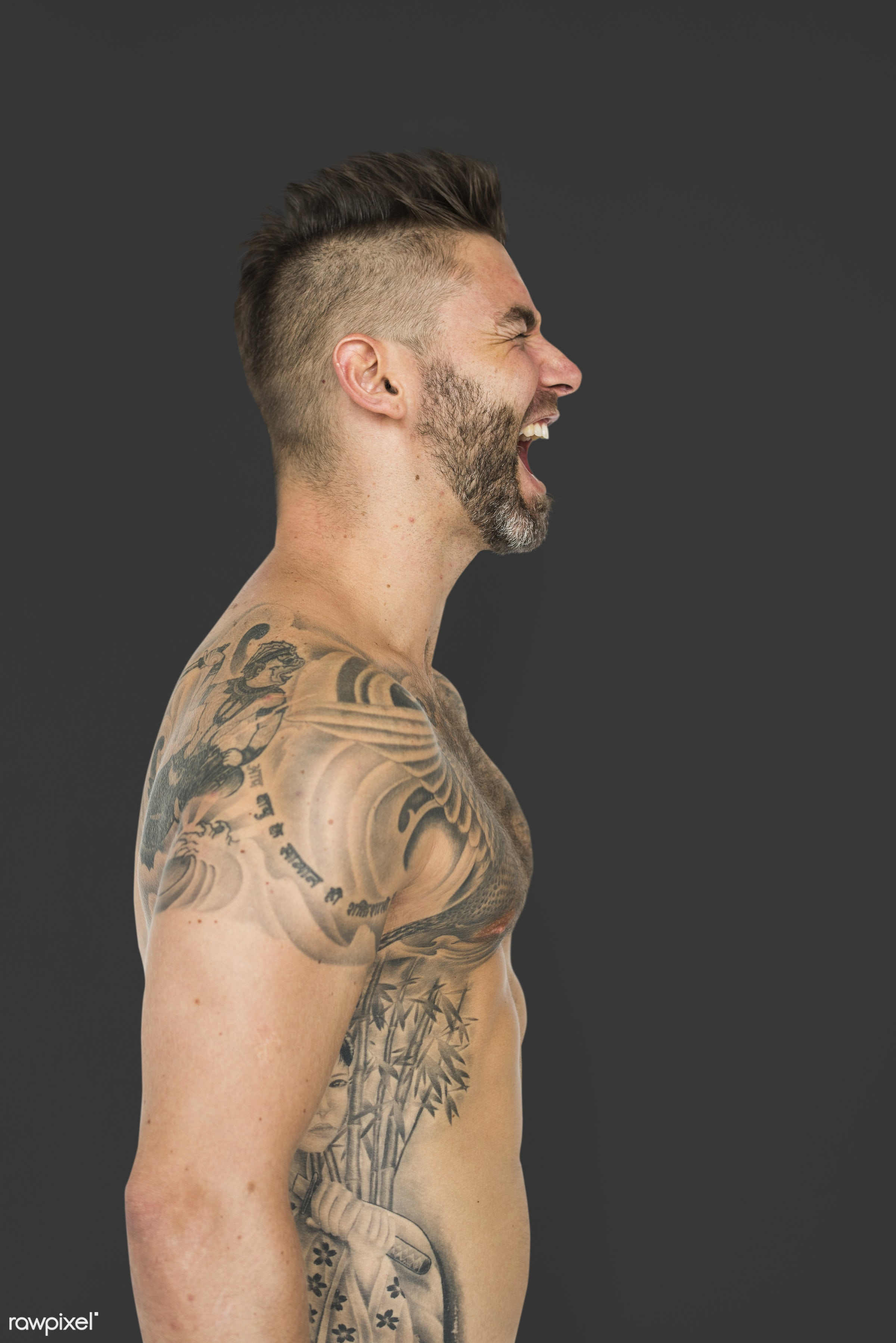 studio, expression, body, tattooed, person, single, hate, rage, people, caucasian, solo, lifestyle, power, tattoo, serious,...