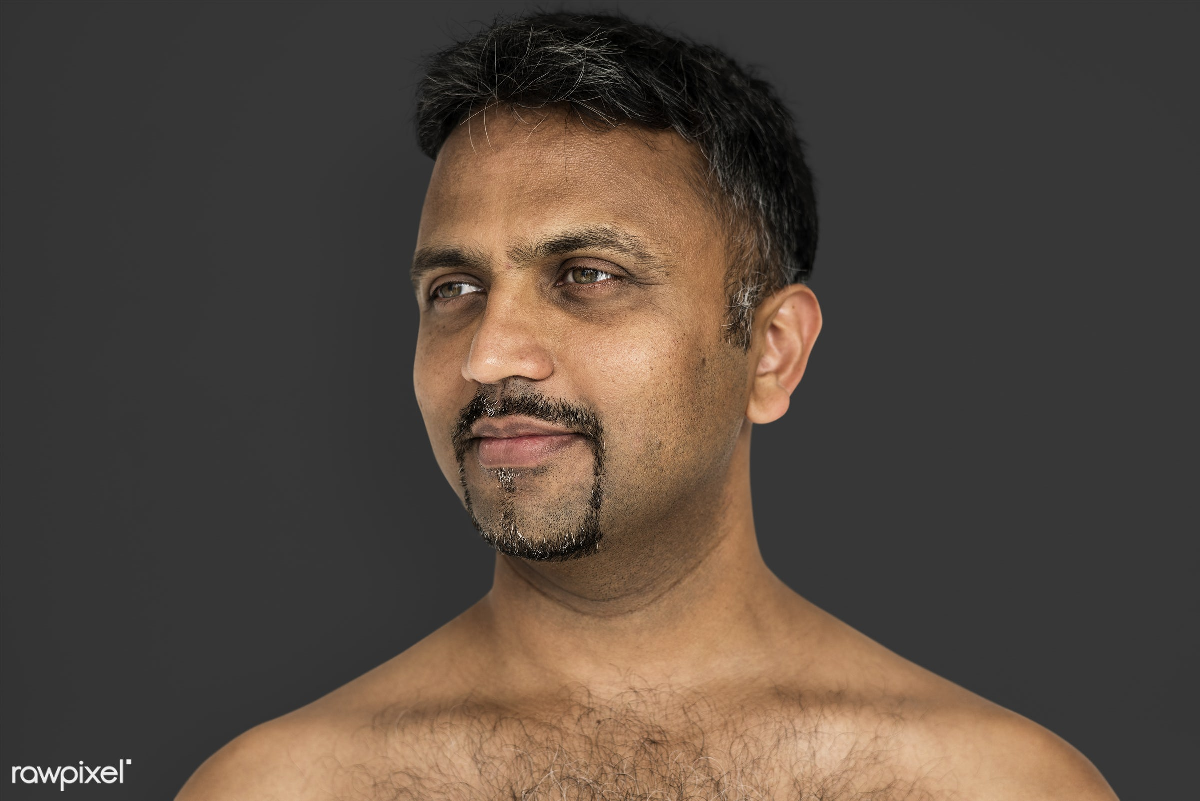 studio, face, person, joy, indian ethnicity, people, bare chest, looking, solo, happy, grey, smile, cheerful, man, smiling,...