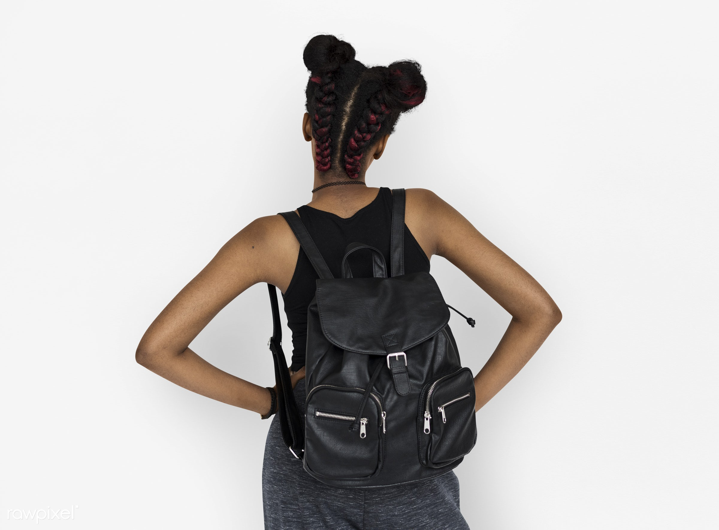 studio, person, african, isolated on white, people, girl, style, woman, lifestyle, casual, backpack, abstract, isolated,...