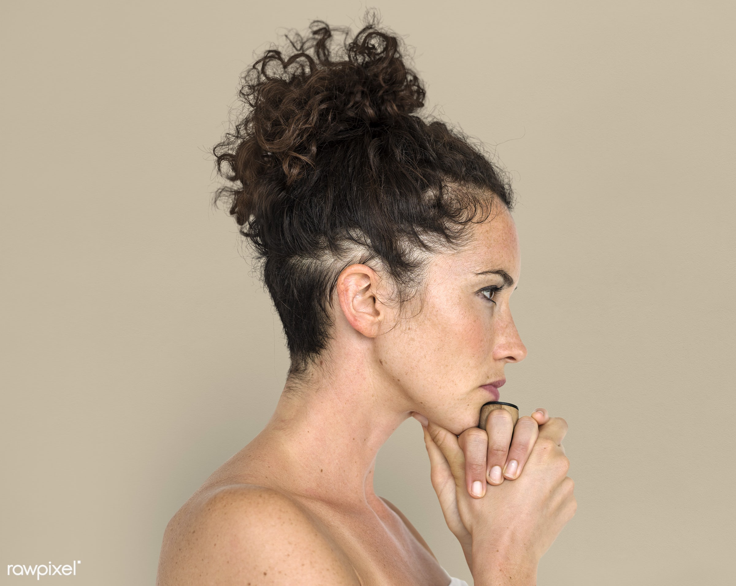 expression, studio, face, person, simple, people, caucasian, face expression, pose, solo, side, hands, woman, attractive,...
