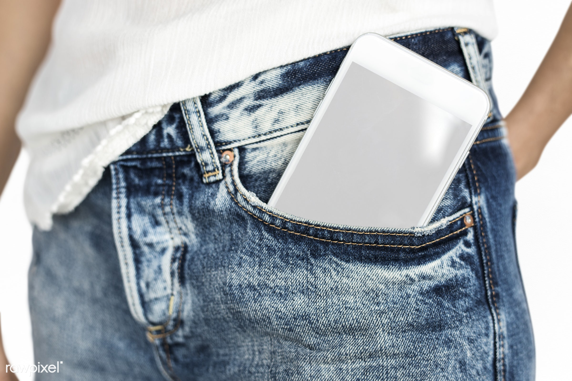digital device, body, copy space, person, portable, technology, isolated on white, pants, hip, device screen, equipment,...