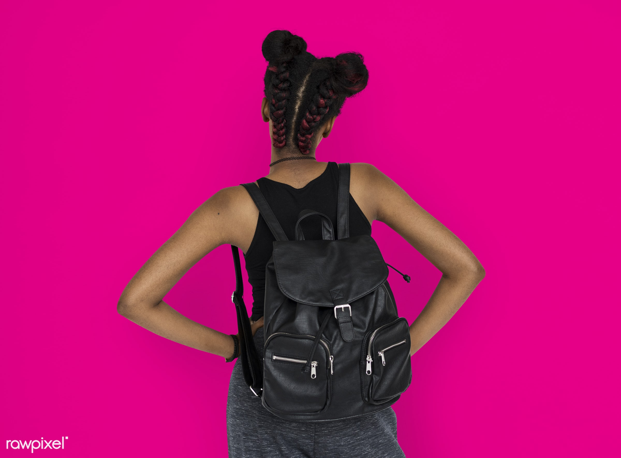 studio, person, african, people, girl, style, woman, lifestyle, casual, backpack, pink, abstract, isolated, rear view, buns...