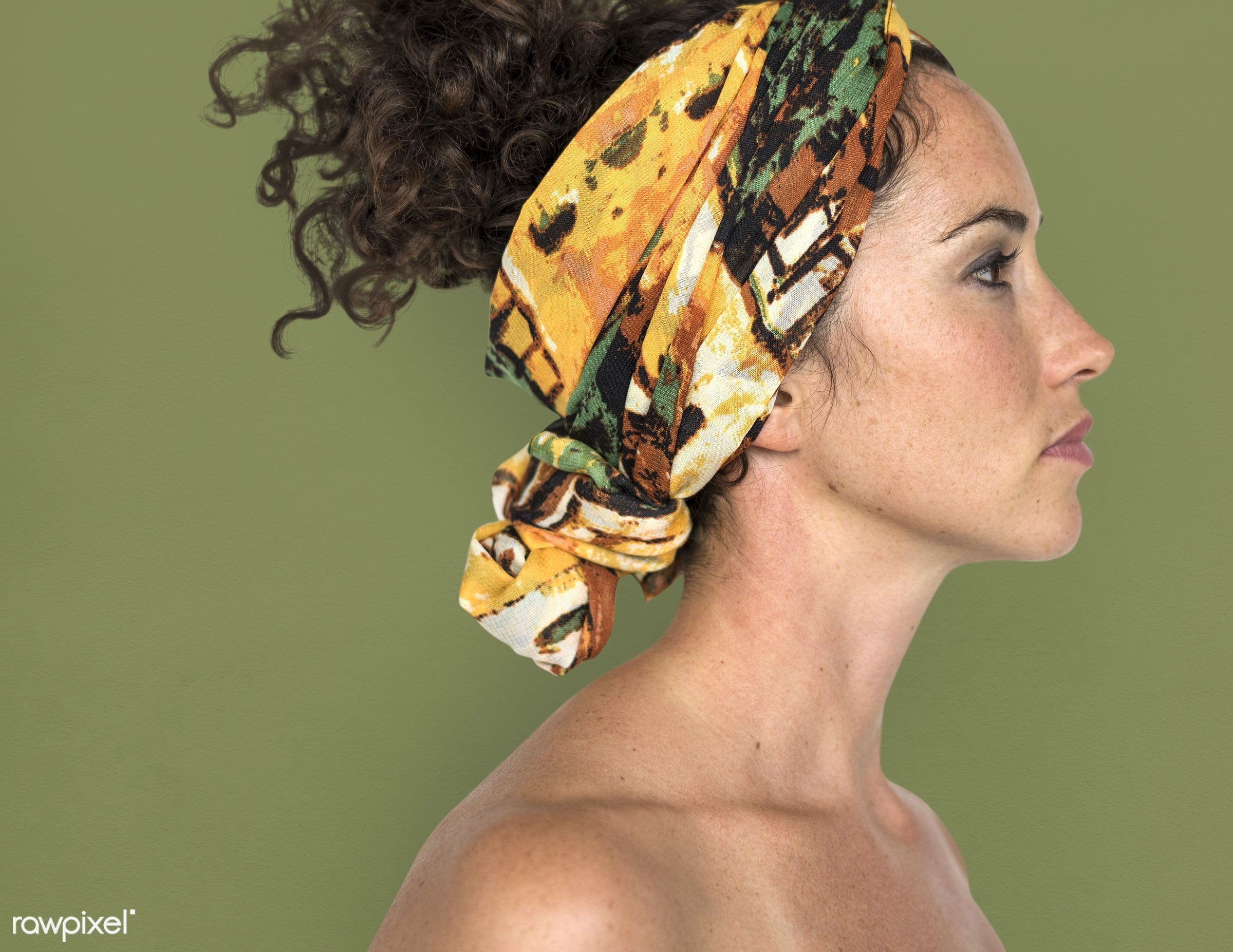 expression, studio, person, poker face, side view, people, bohemian, skin, caucasian, pose, girl, clean, headband,...