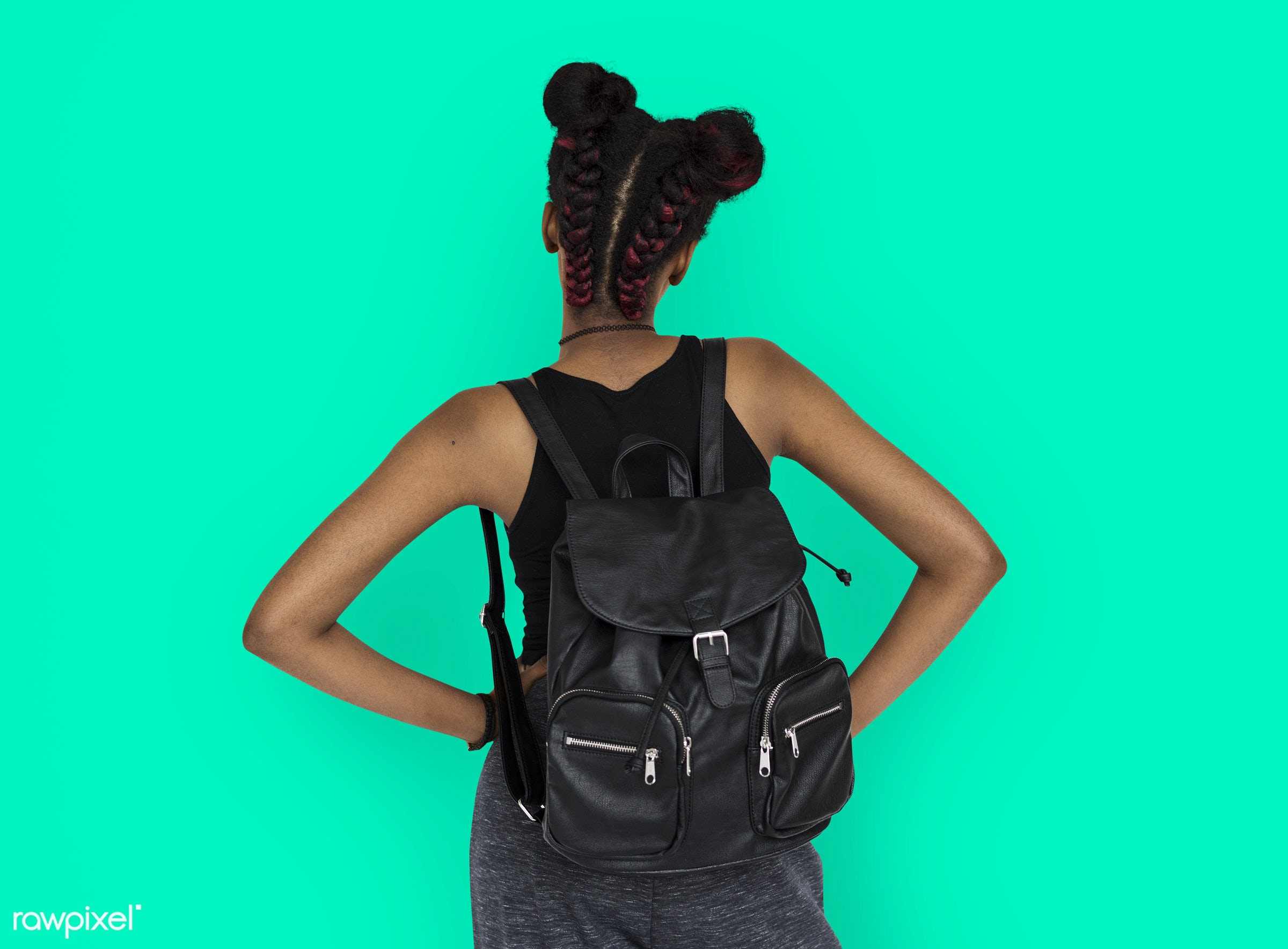 studio, person, african, people, girl, style, woman, lifestyle, casual, backpack, abstract, isolated, rear view, buns, bag,...