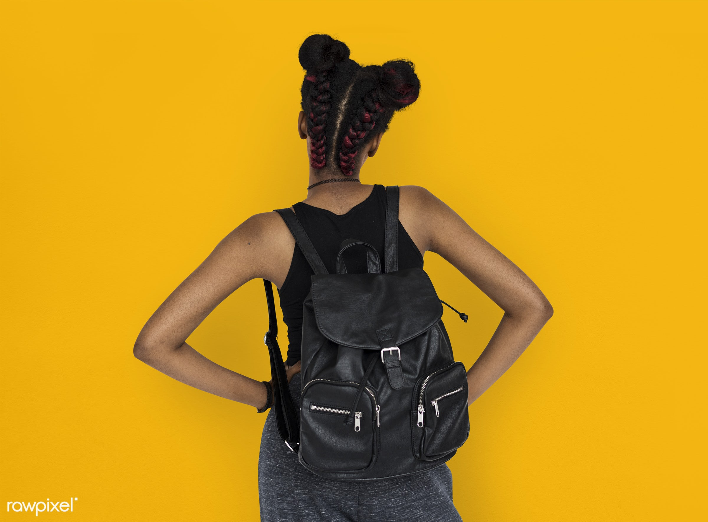 studio, person, african, yellow, people, girl, style, woman, lifestyle, casual, backpack, abstract, isolated, orange, rear...