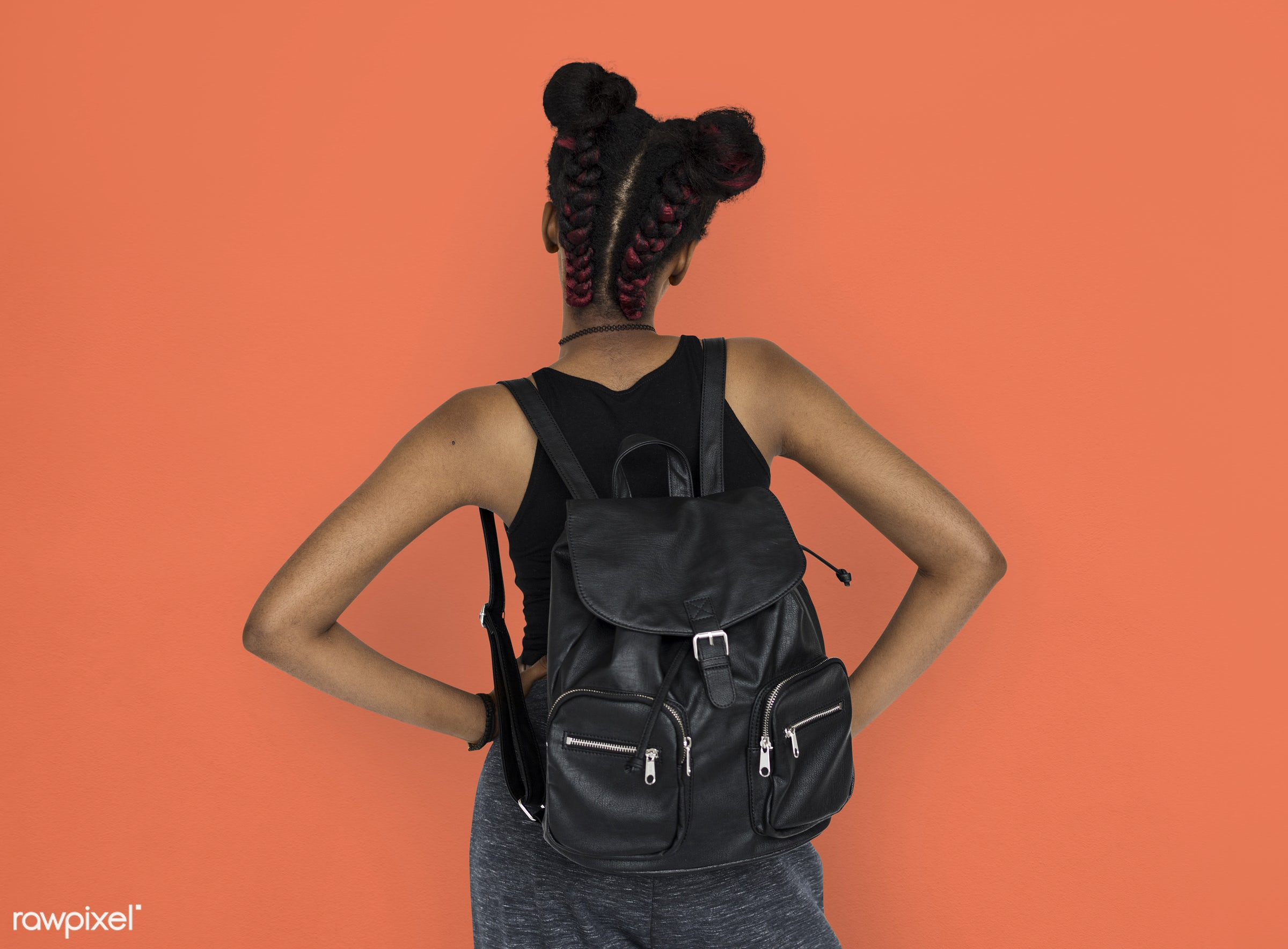 studio, person, african, people, girl, style, woman, lifestyle, casual, backpack, abstract, isolated, rear view, orange,...
