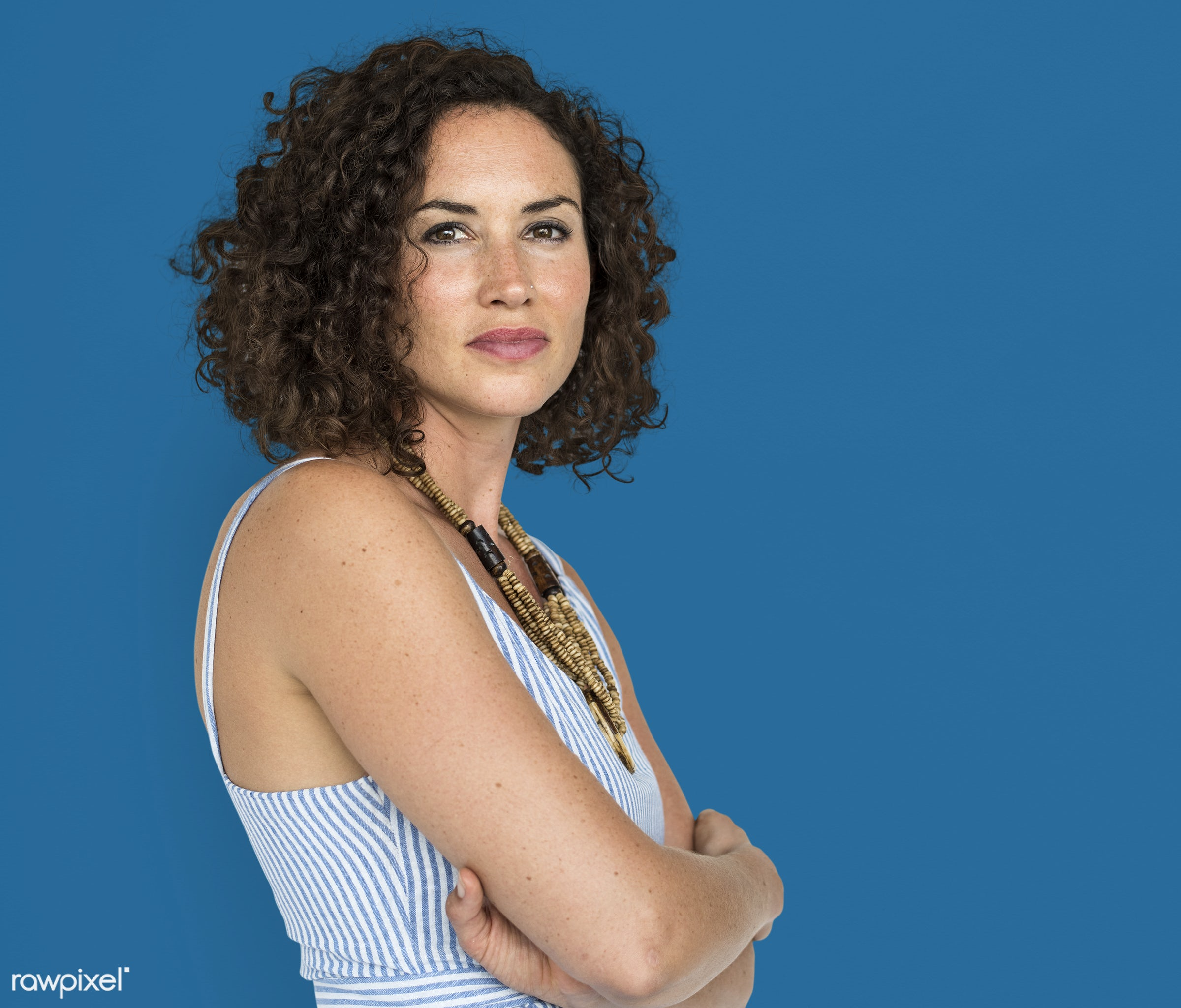 expression, studio, fashion, model, person, trendy, race, people, short hair, arm crossed, curly, style, solo, woman,...