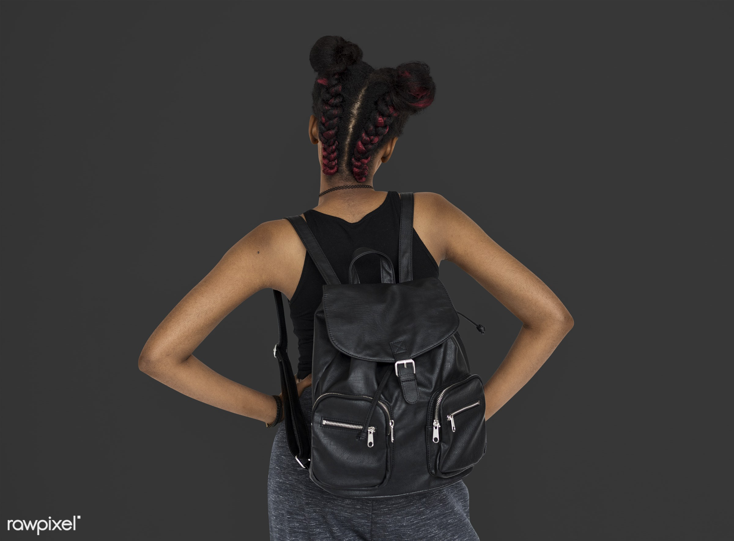 studio, person, african, people, girl, style, woman, lifestyle, casual, backpack, grey, abstract, isolated, rear view, buns...