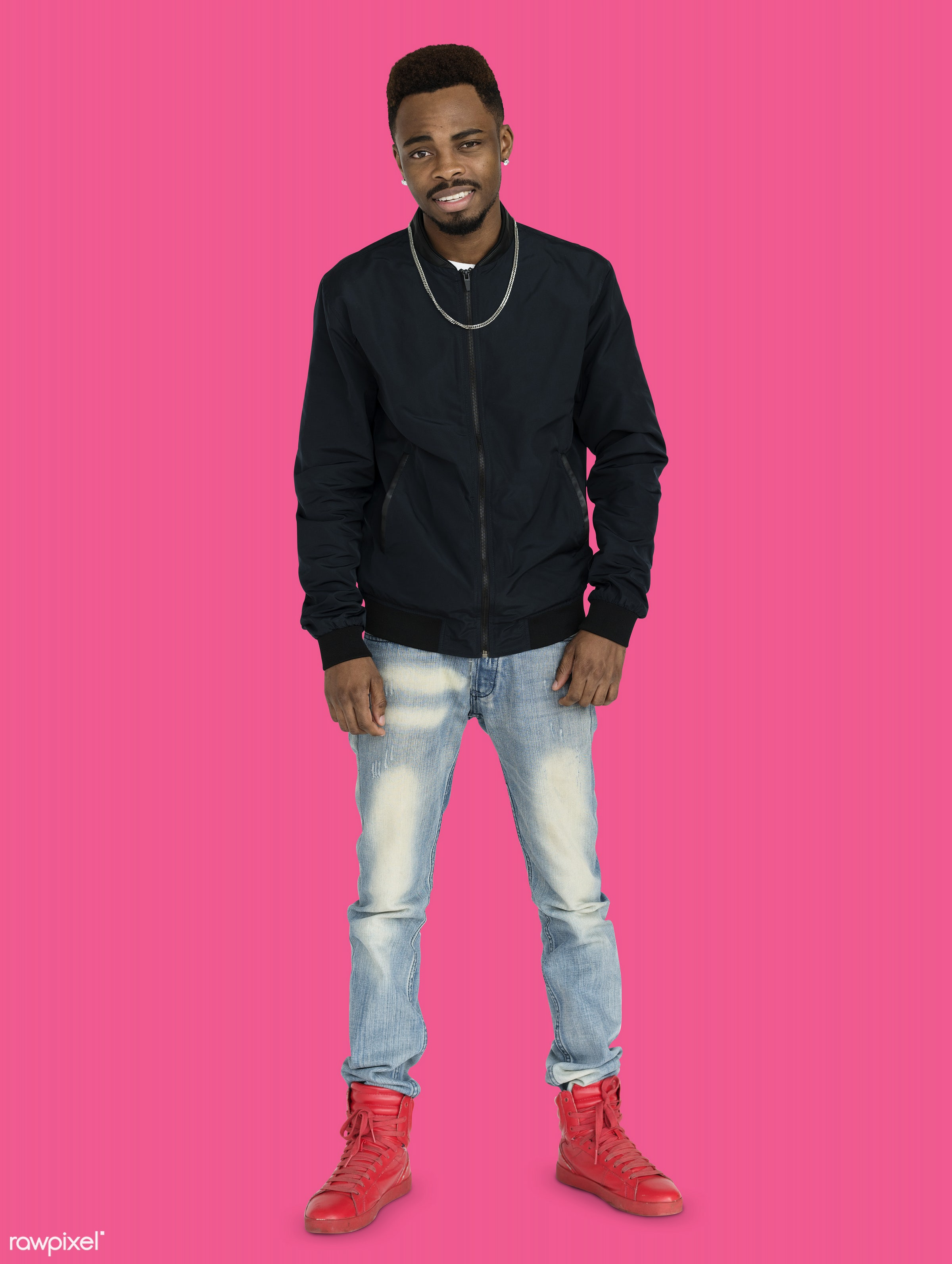 studio, expression, face, person, joy, people, style, solo, fresh, happy, casual, pink, smile, cheerful, man, smiling, black...