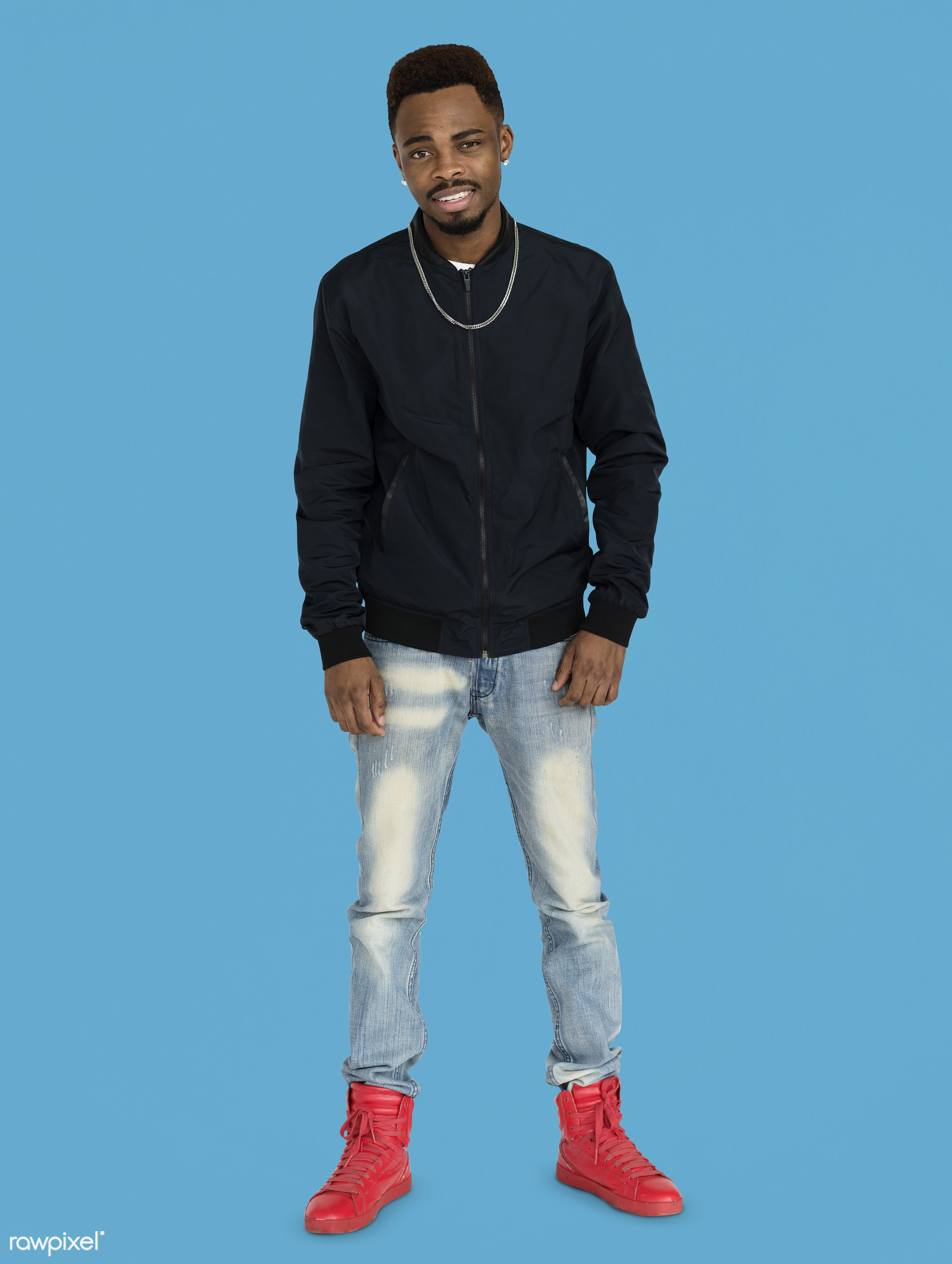 studio, expression, face, person, joy, people, style, solo, fresh, happy, casual, smile, cheerful, man, smiling, black,...