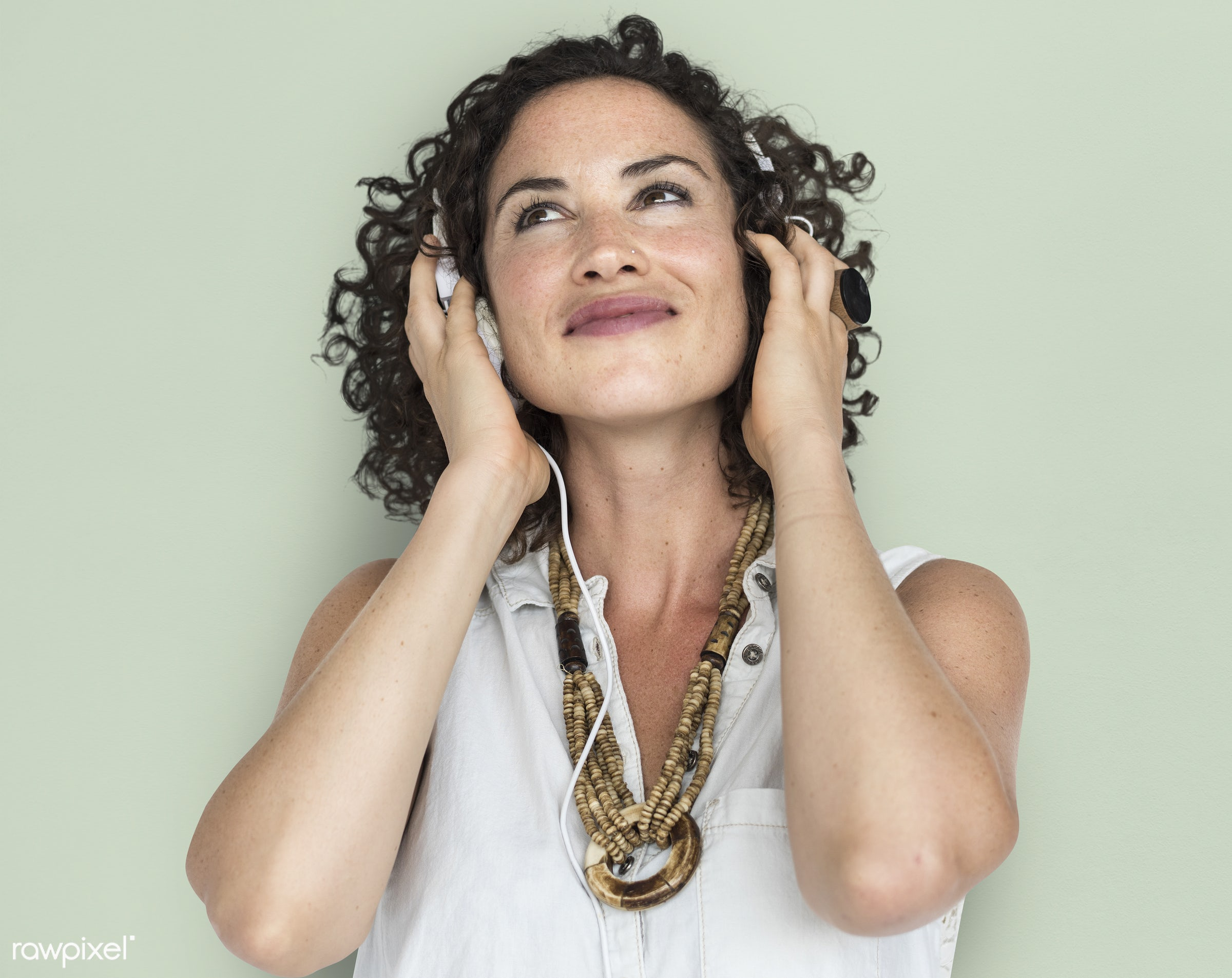 studio, pastel, model, person, people, race, headphone, style, woman, lifestyle, casual, beige, feminism, playlist, music,...