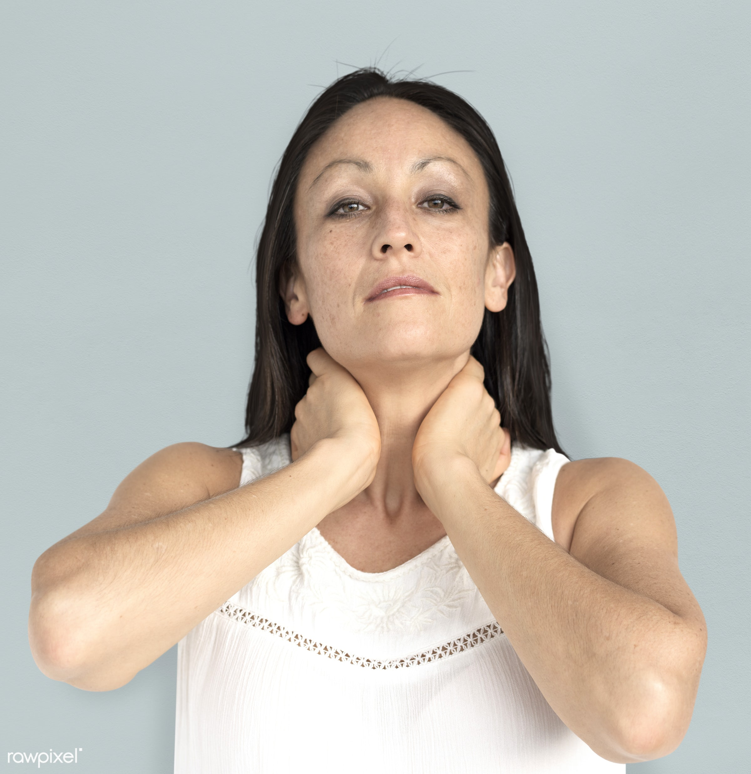 studio, model, person, neck pain, people, race, style, solo, woman, casual, lifestyle, feminism, isolated, gesture, posing,...