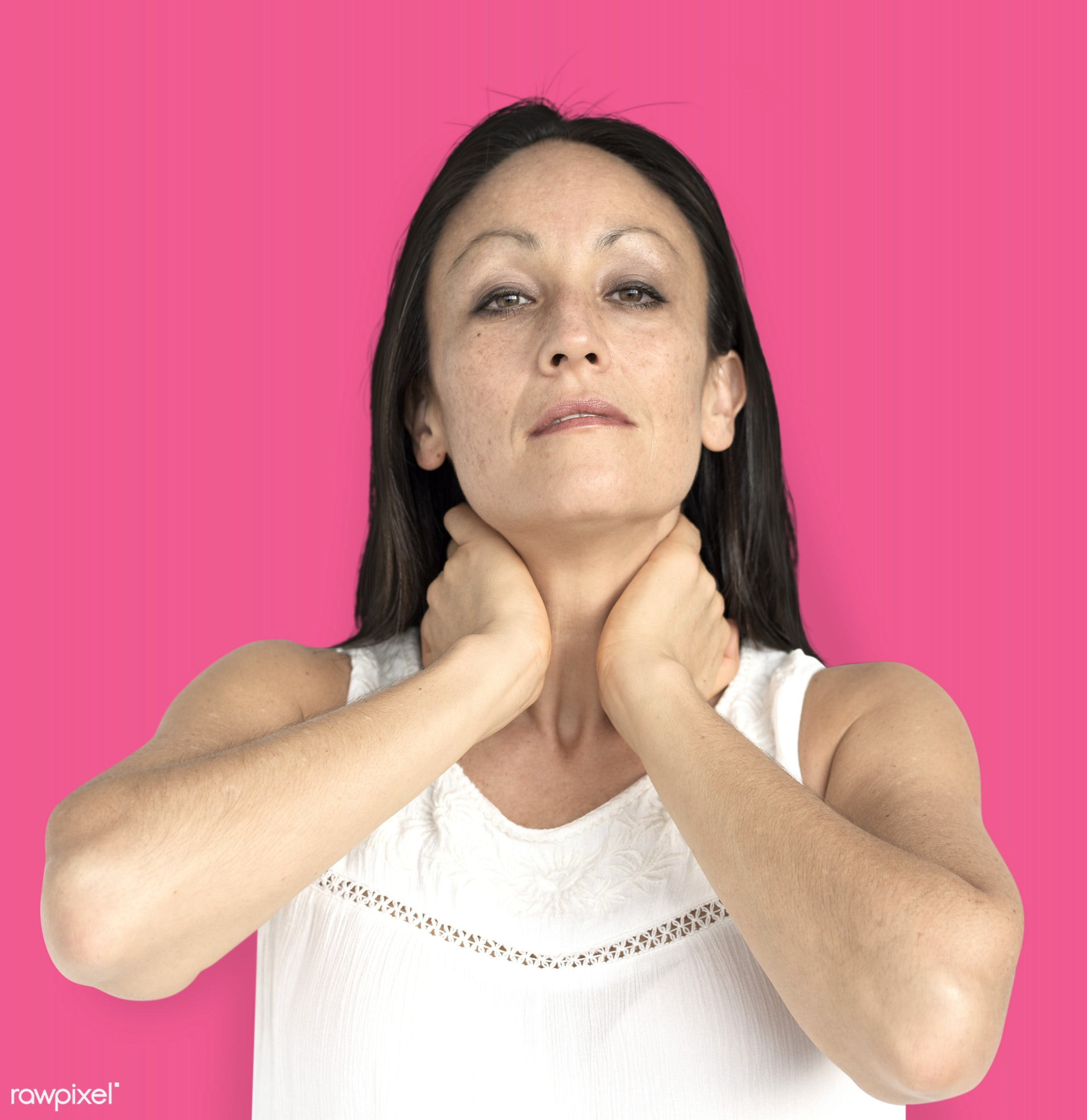 studio, model, person, neck pain, people, race, style, solo, woman, casual, lifestyle, pink, feminism, isolated, gesture,...