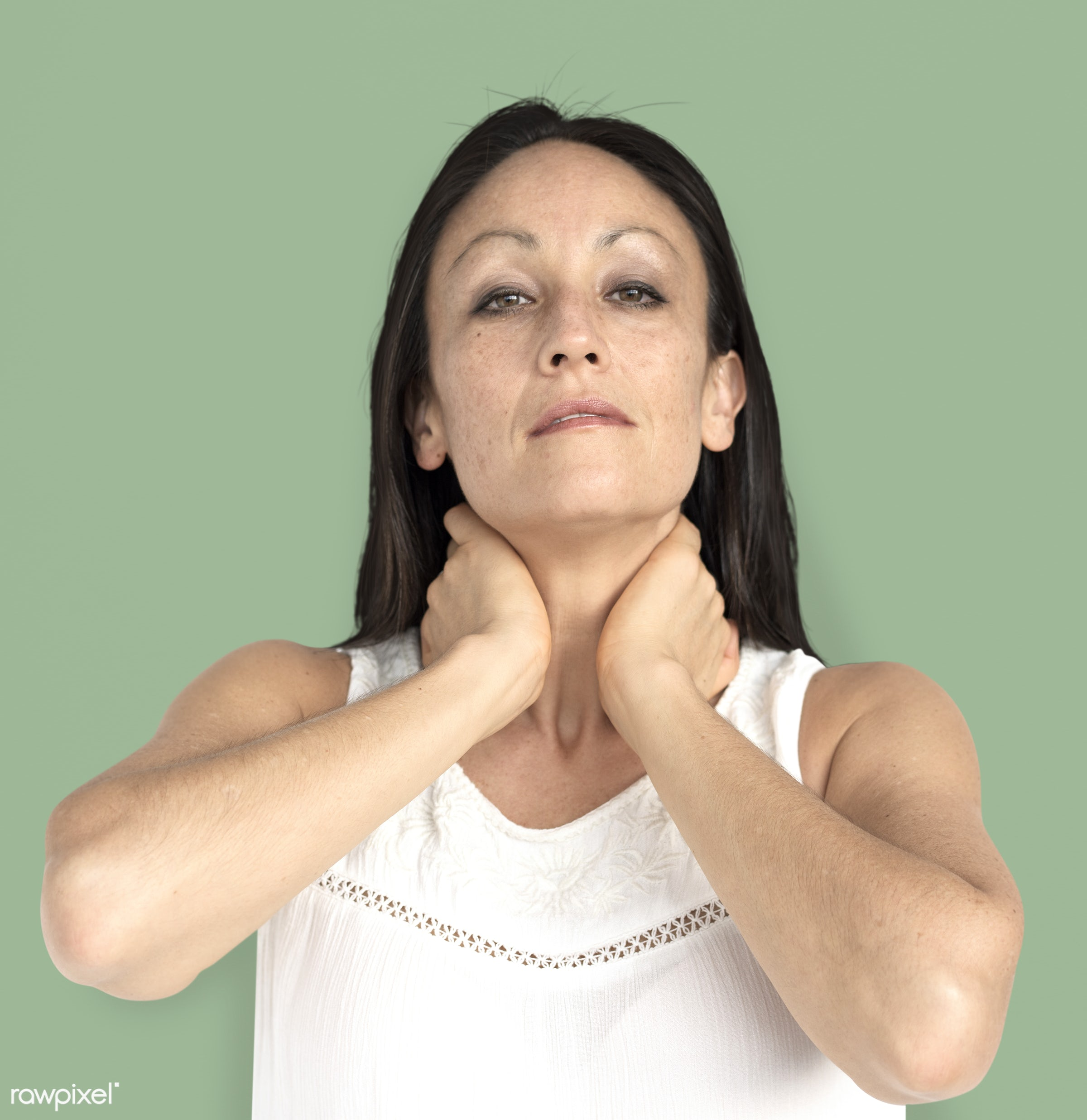 studio, model, person, neck pain, people, race, style, solo, woman, lifestyle, casual, feminism, isolated, green, gesture,...