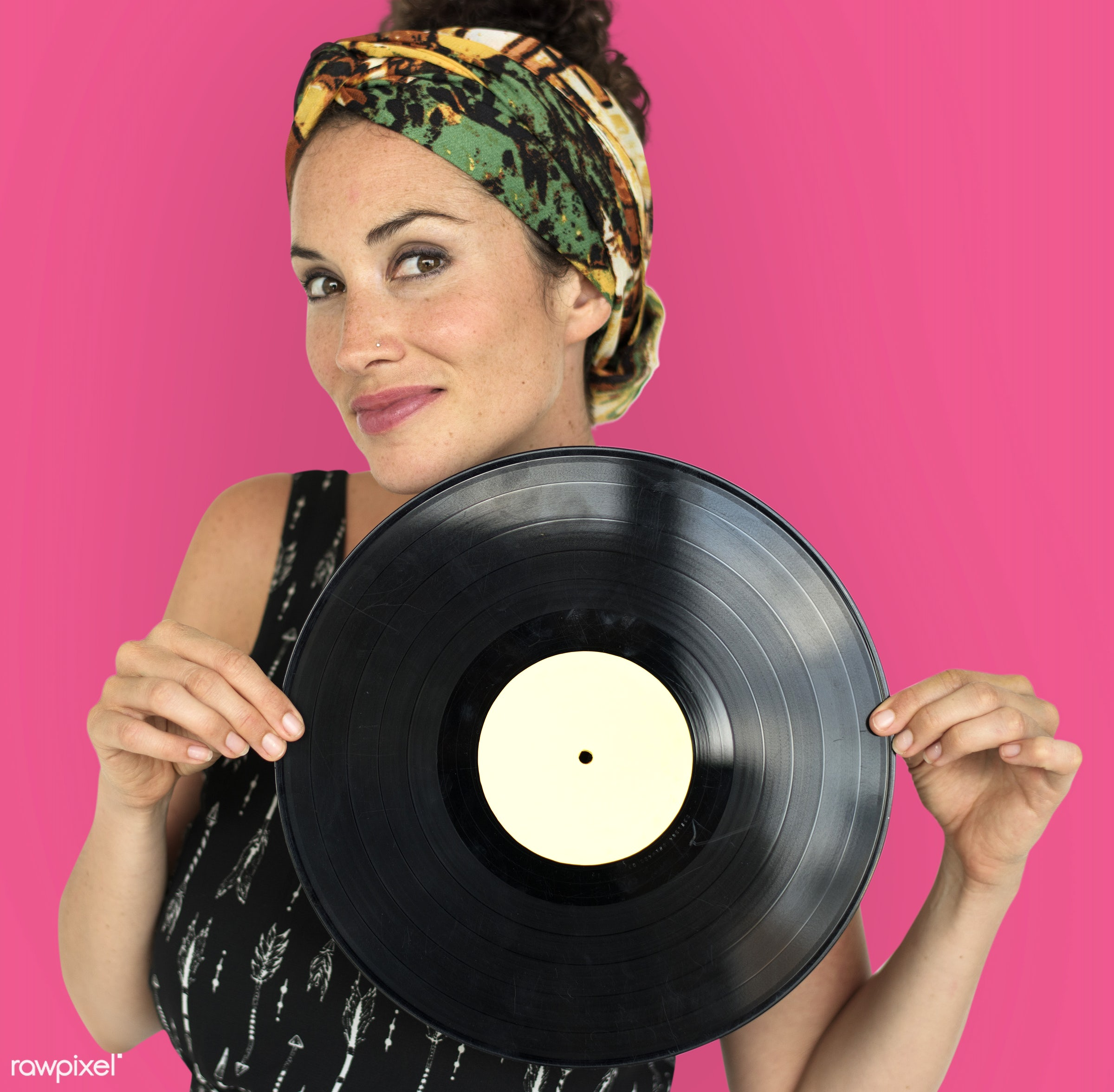 studio, model, person, retro, people, race, style, woman, casual, lifestyle, vinyl, pink, feminism, music, isolated, gesture...