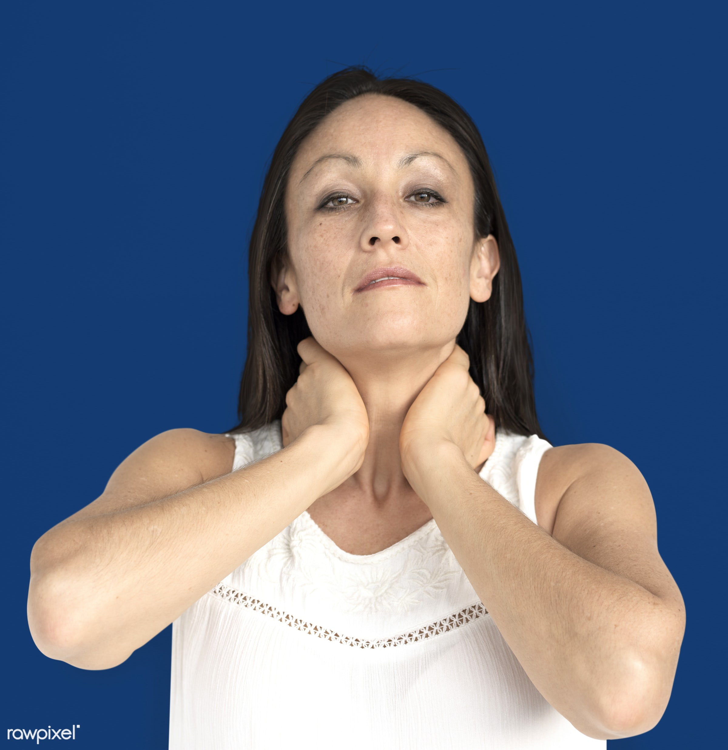 studio, model, person, neck pain, people, race, style, solo, woman, lifestyle, casual, feminism, isolated, gesture, posing,...
