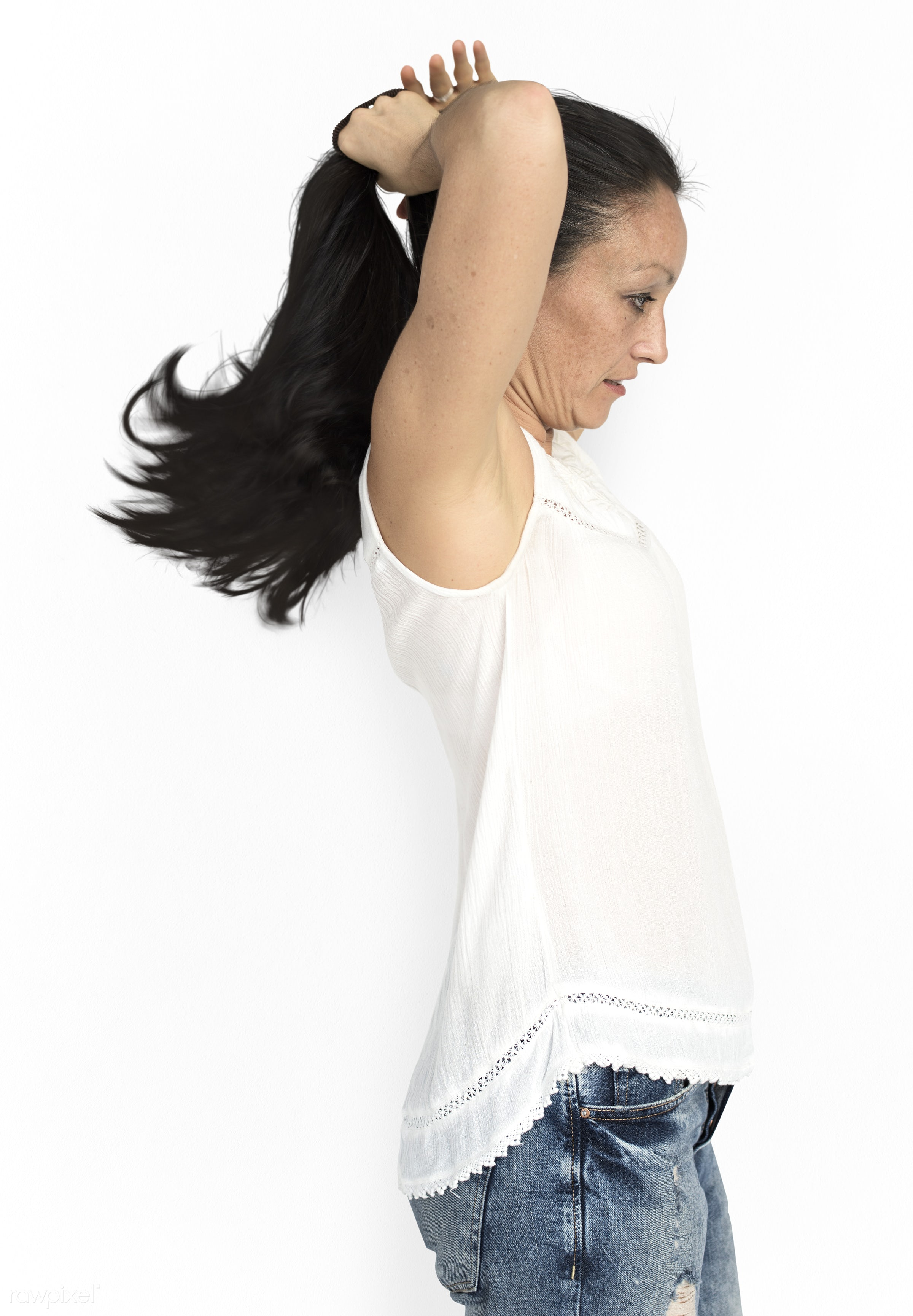 studio, model, person, people, race, style, solo, woman, lifestyle, casual, feminism, hair, isolated, gesture, white, posing...