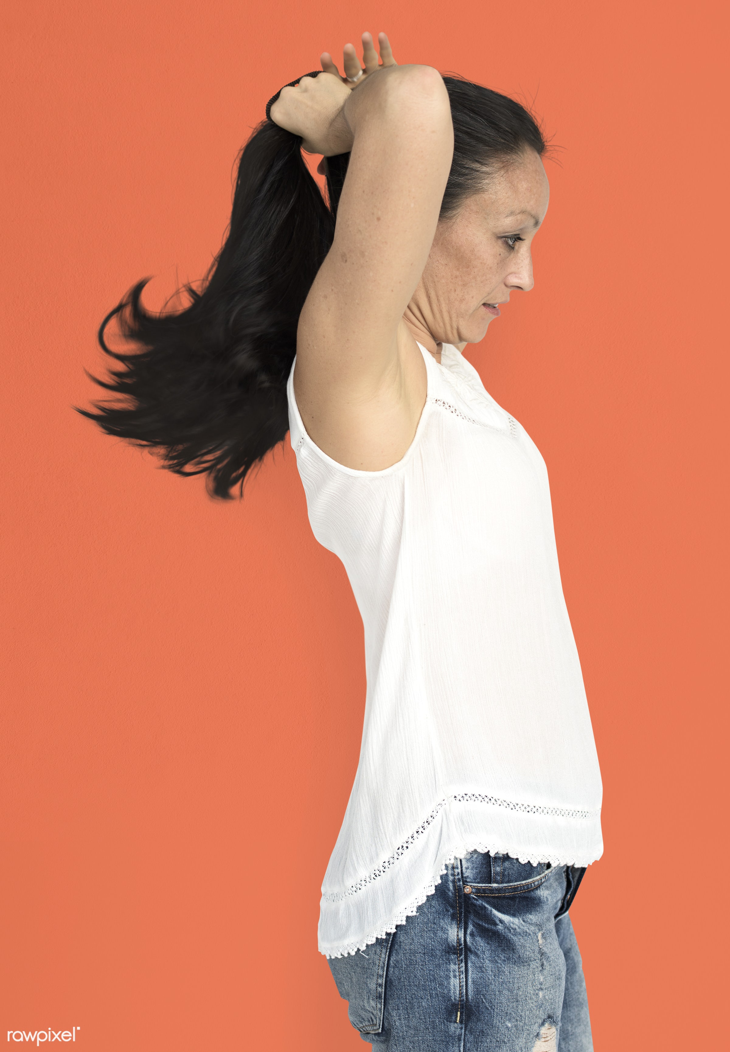 studio, model, person, people, race, style, solo, woman, lifestyle, casual, feminism, hair, isolated, orange, gesture,...