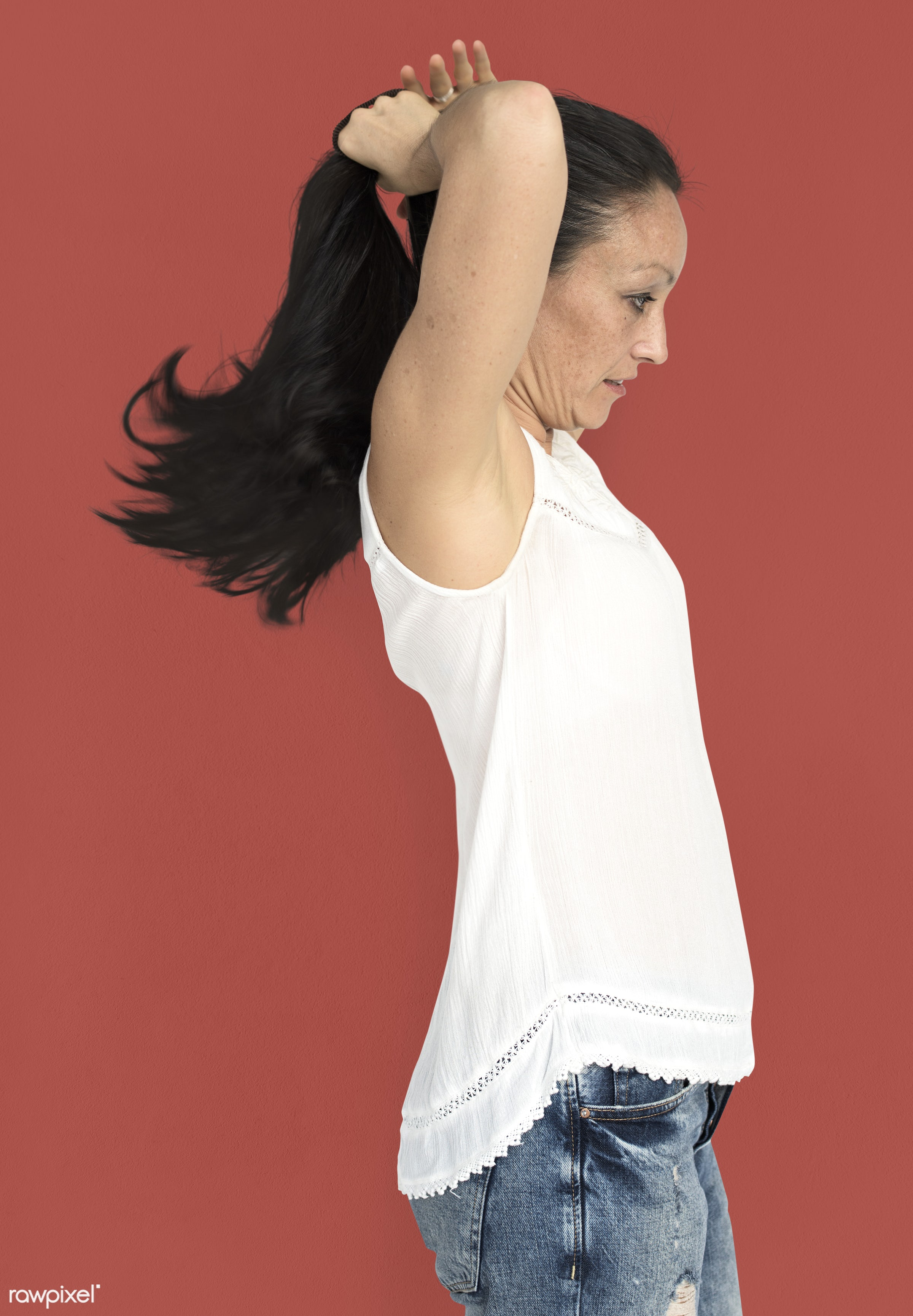 studio, model, person, people, race, style, solo, woman, lifestyle, casual, feminism, hair, isolated, gesture, posing,...