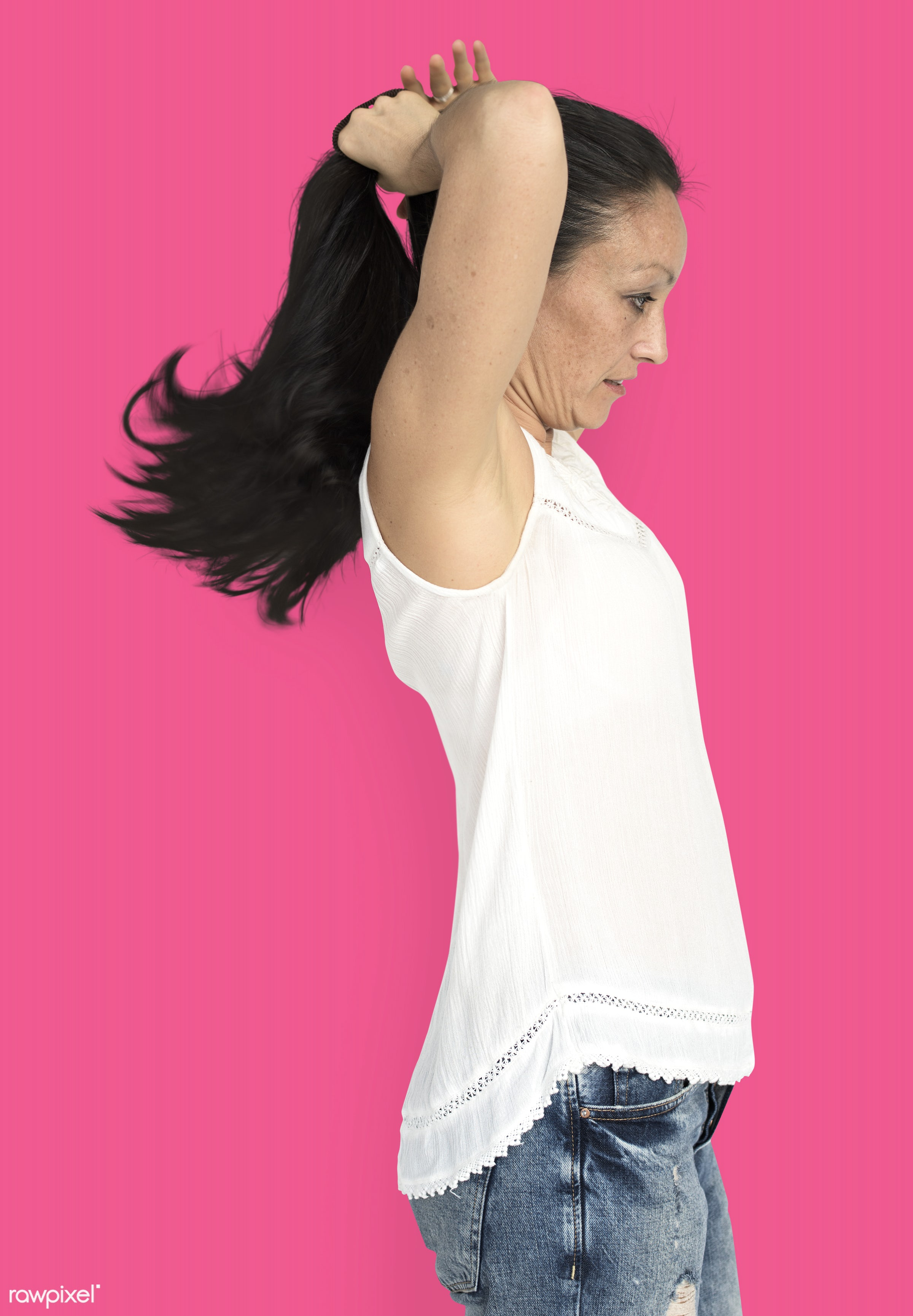 studio, model, person, people, race, style, solo, woman, lifestyle, casual, pink, feminism, hair, isolated, gesture, posing...