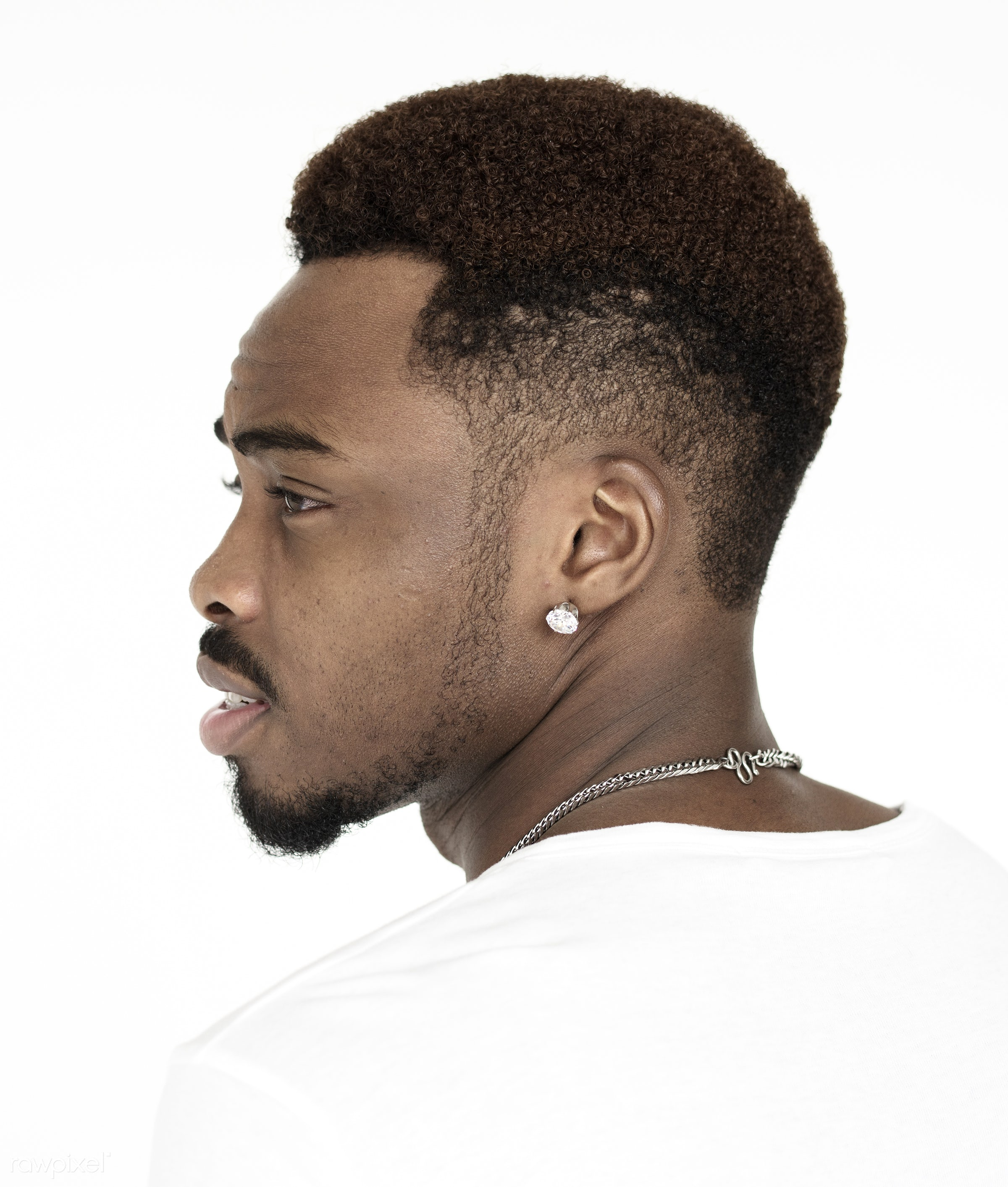 studio, person, one, people, race, style, lifestyle, casual, head, straight face, man, black, isolated, guy, tilt, african...