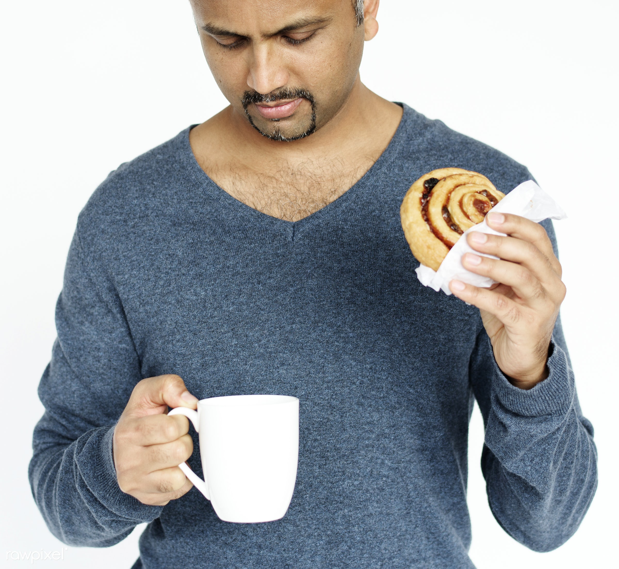 studio, cup, expression, person, holding, tea, people, race, mug, break, roll, bread, lifestyle, drink, gentleman, isolated...