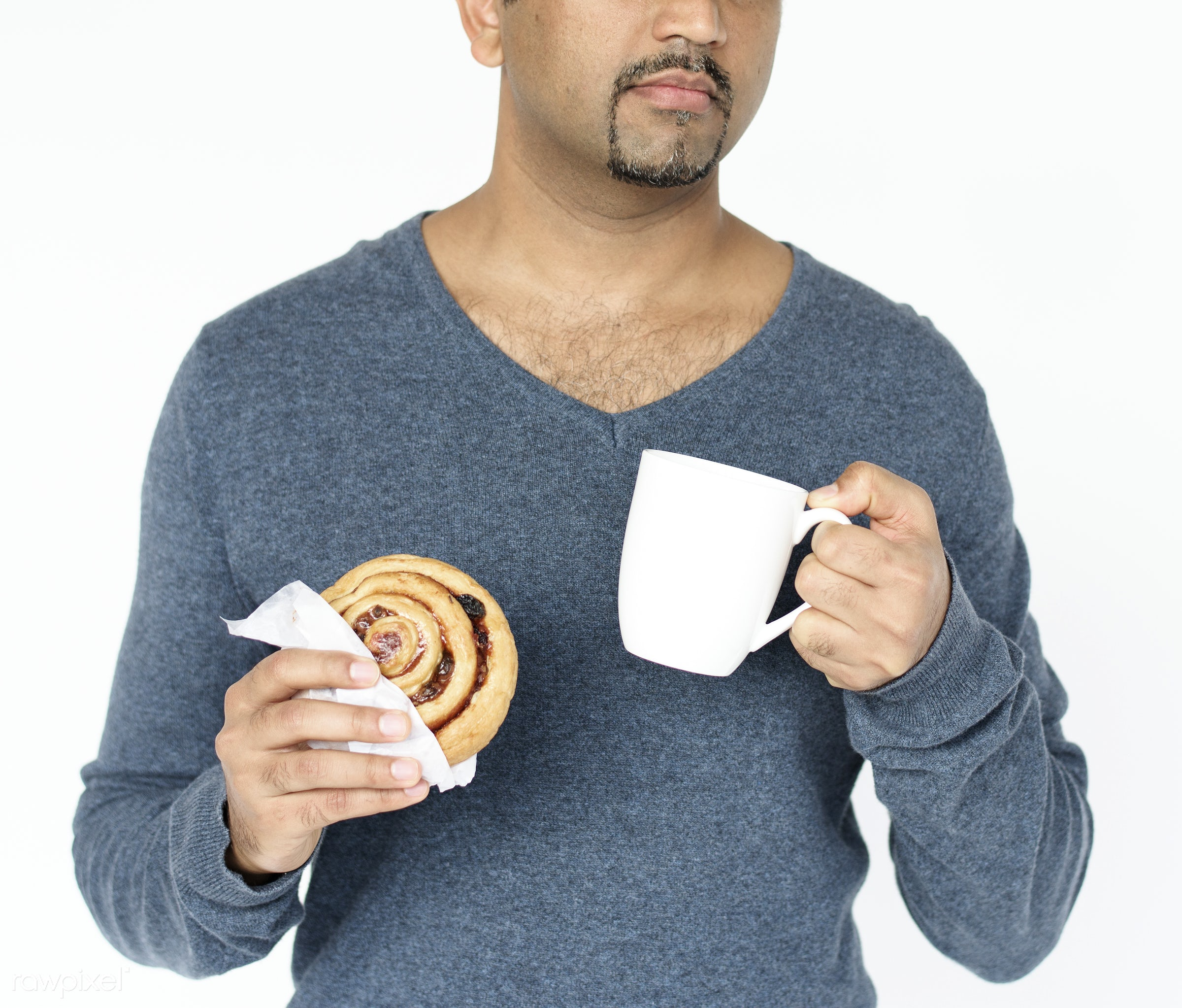 studio, cup, expression, person, holding, tea, people, race, mug, break, roll, bread, drink, lifestyle, gentleman, isolated...