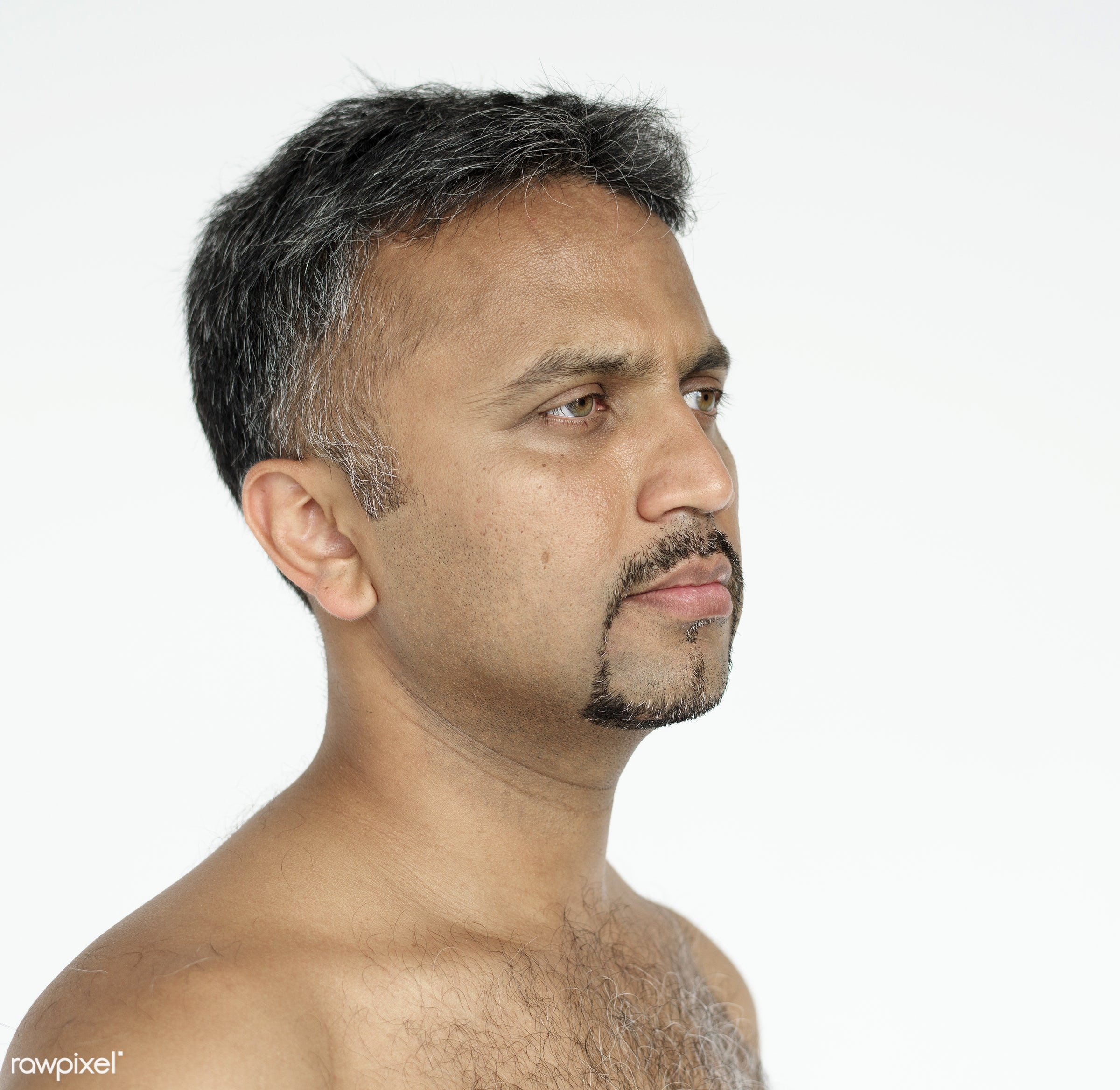background, beard, chest, dude, emotion, expression, frown, guy, hair, indian ethnicity, isolated, lifestyle, male, man, one...