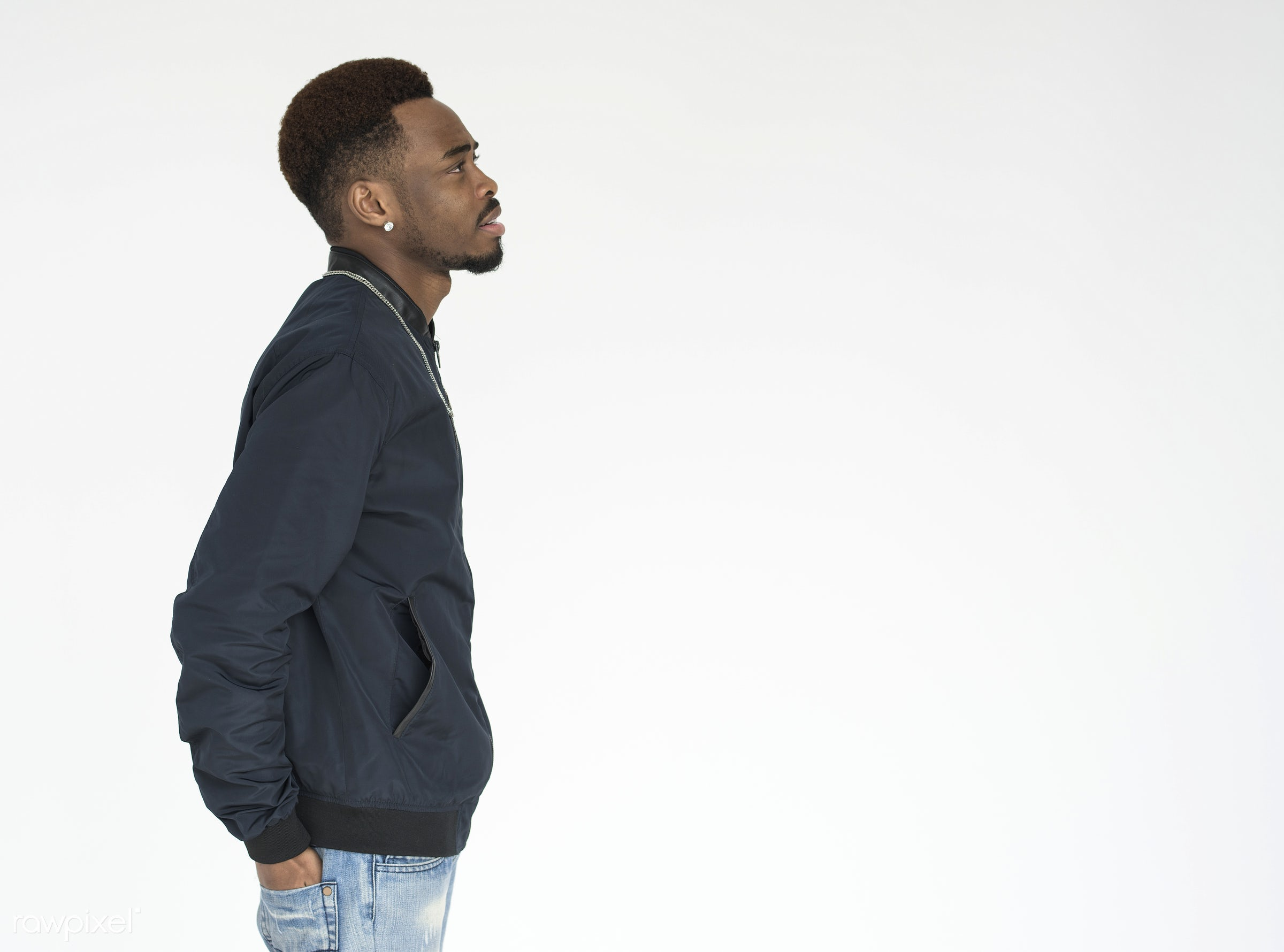 studio, person, one, side view, people, race, style, hands, lifestyle, casual, man, black, profile, isolated, half body, guy...