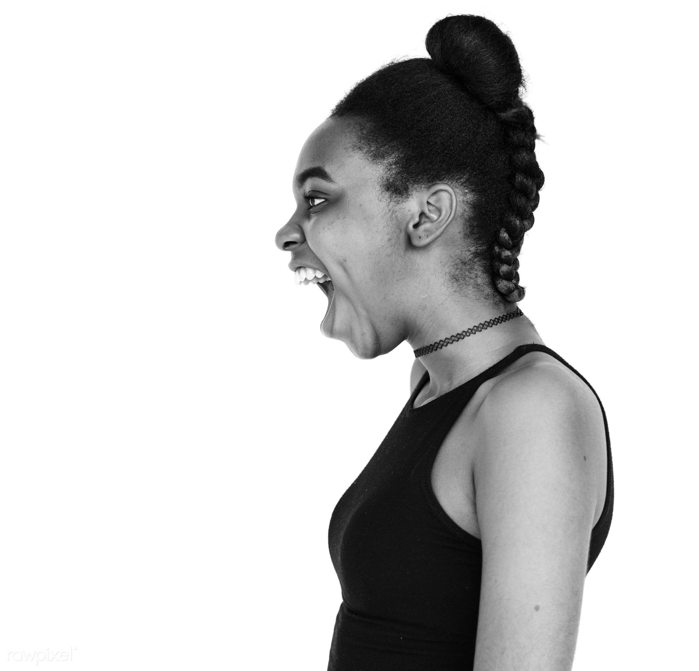expression, studio, model, person, madam, isolated on white, people, race, style, woman, lifestyle, casual, feminism,...
