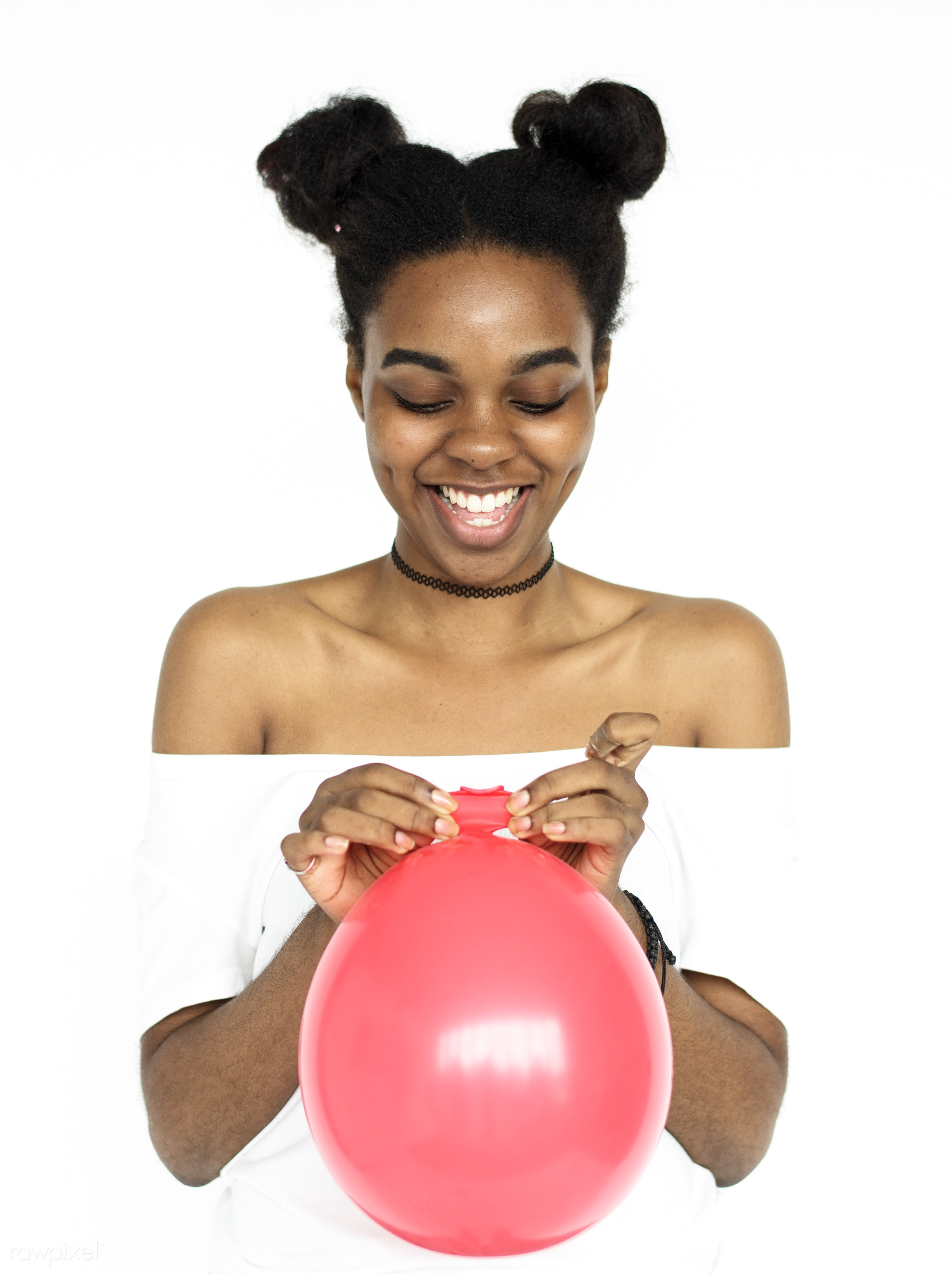 studio, expression, person, party, people, race, woman, gum, lifestyle, positive, cheerful, smiling, isolated, african...