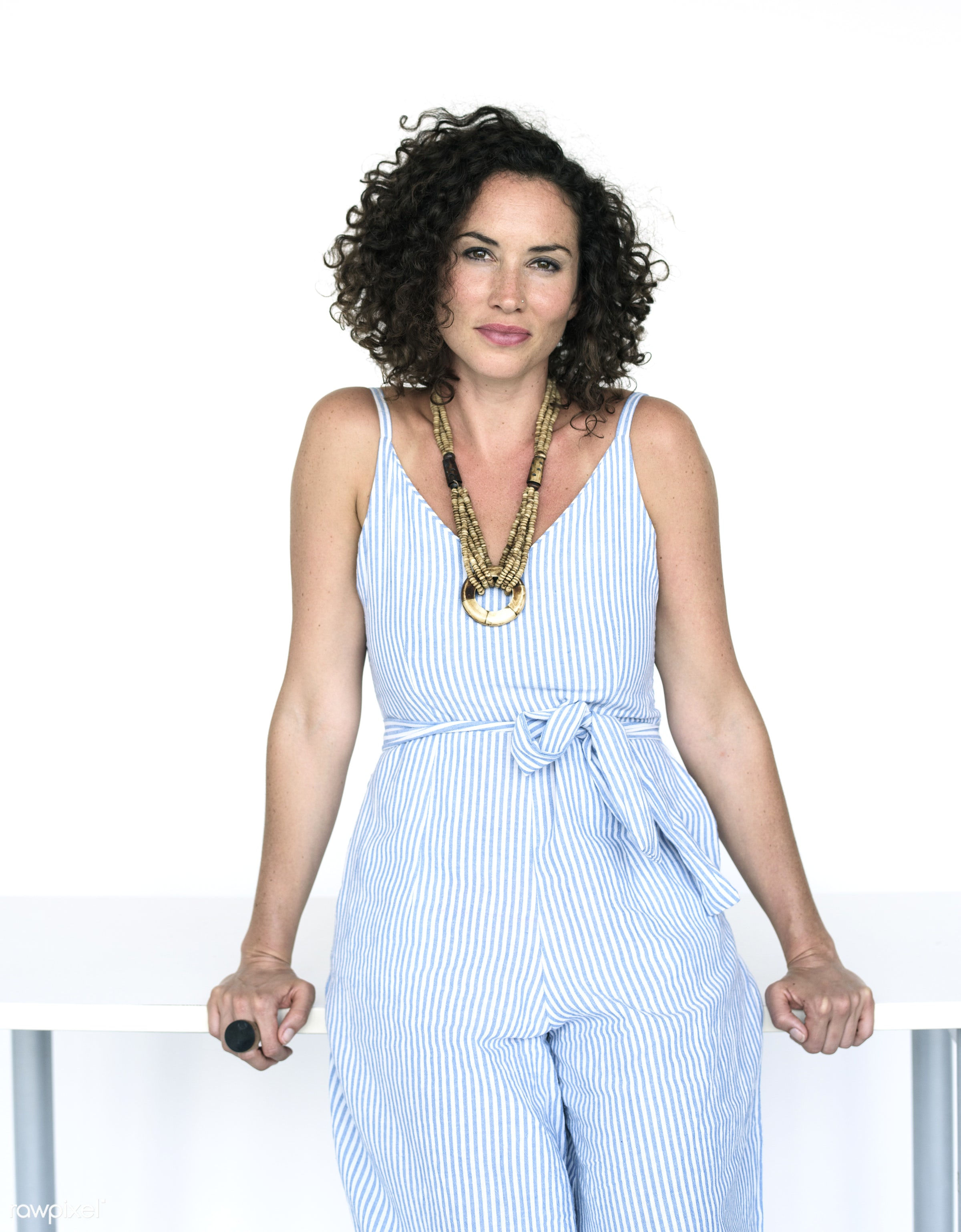 expression, studio, fashion, model, person, fashionista, jumpsuit, isolated on white, trendy, race, people, caucasian, style...