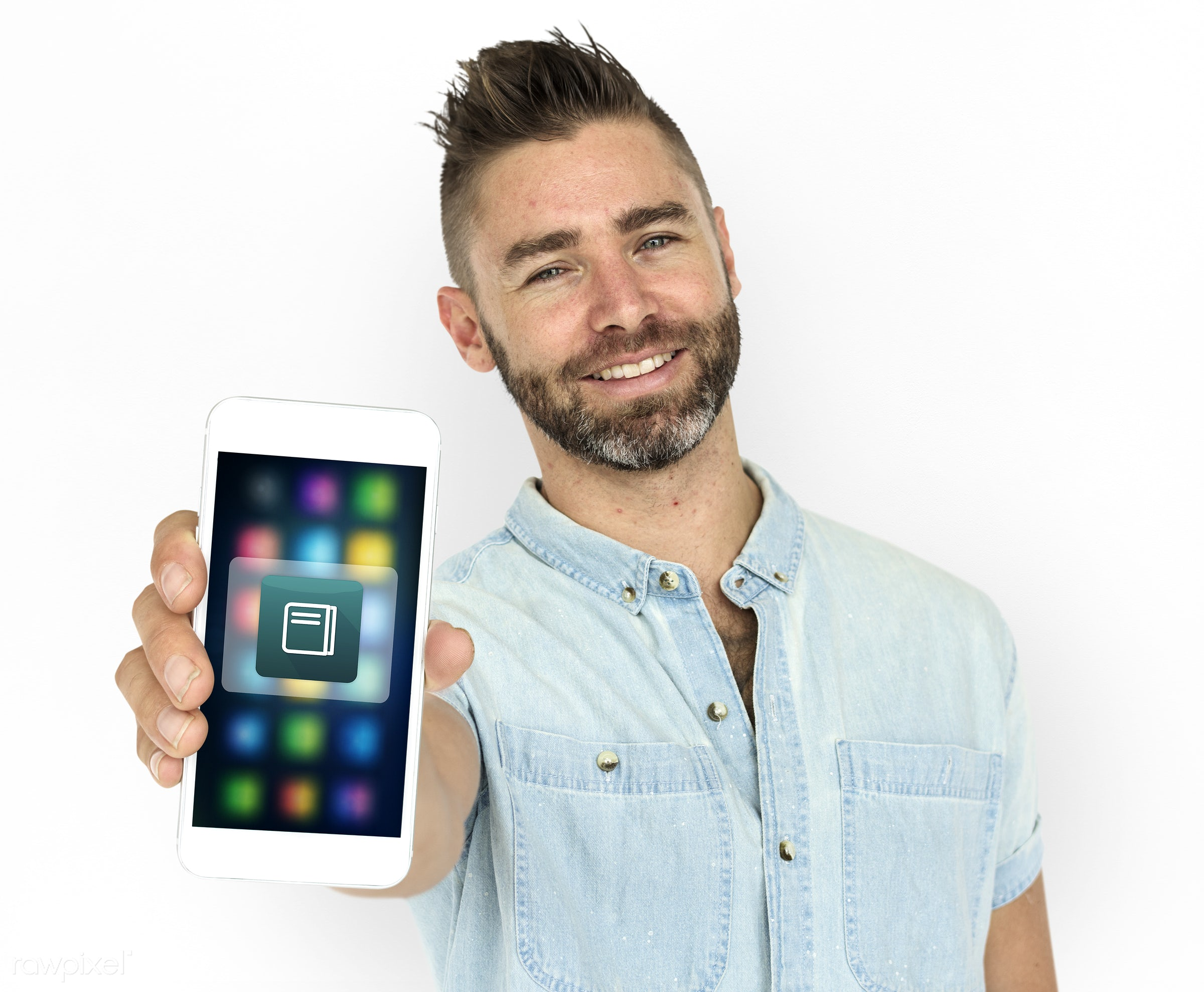 Bearded man holding a smartphone - studio, lecture, person, phone, technology, portable, holding, illustration, study, show...