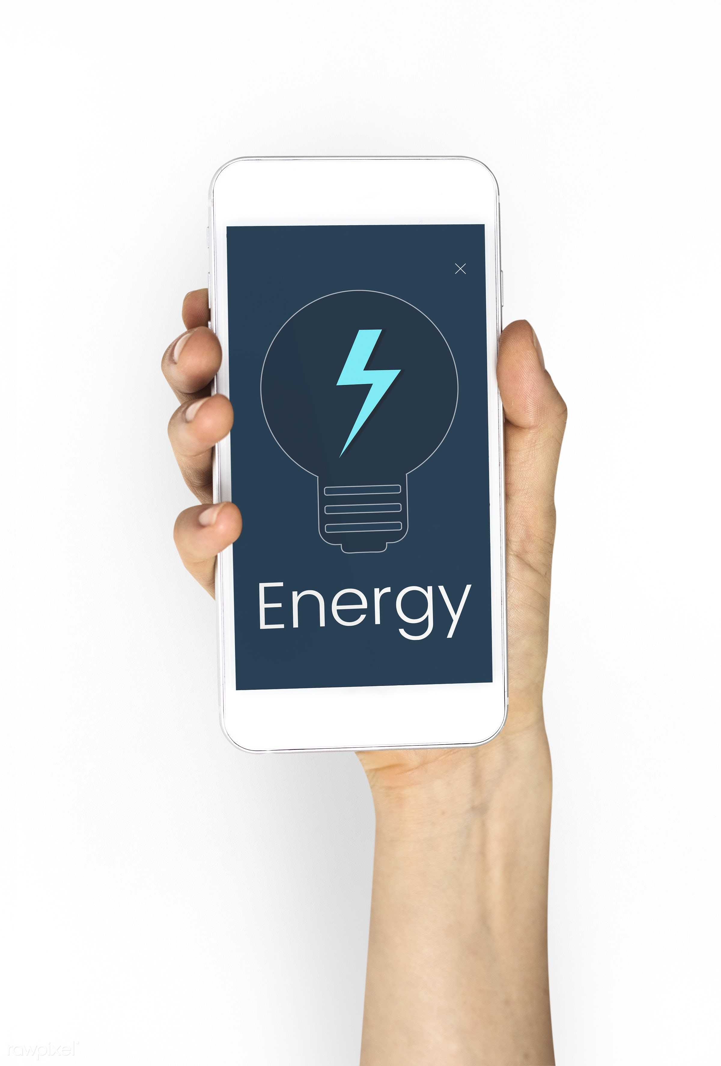 Woman holding a smartphone with energy symbol - studio, expression, flash, phone, technology, bolt, holding, show, people,...