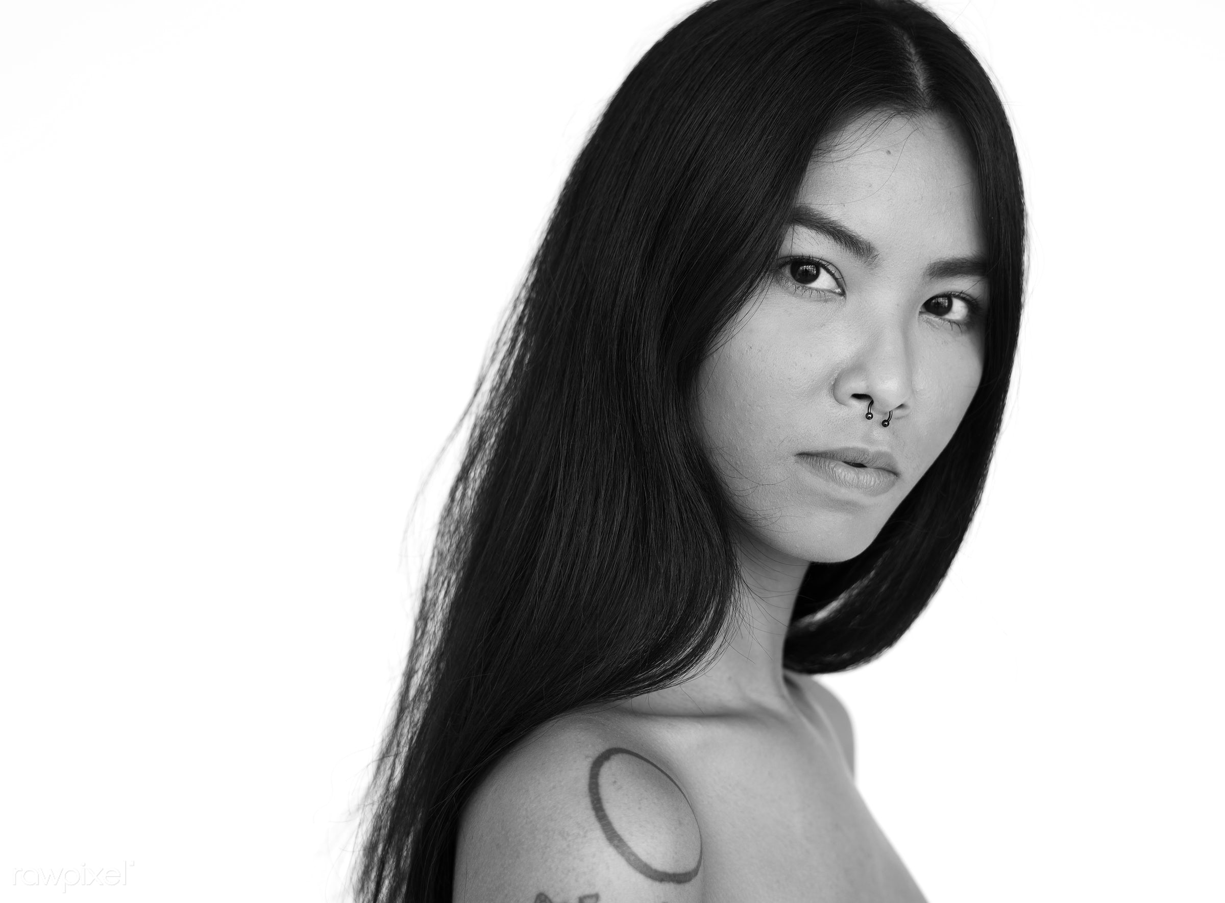 Portrait of a young beautiful Asian woman - studio, expression, person, model, isolated on white, people, race, style, woman...