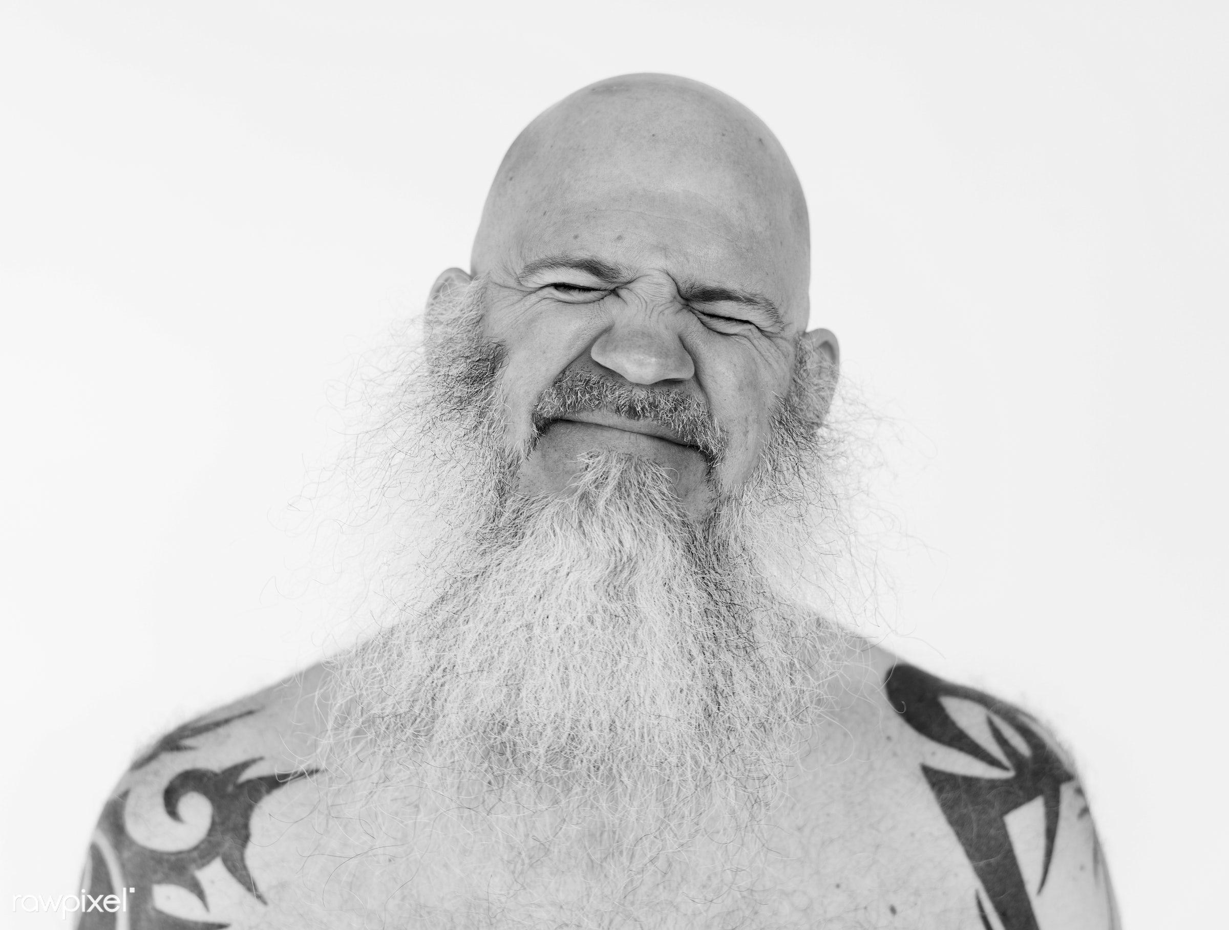 Portrait of a big tattooed bearded man - studio, body, person, model, concept, technician, people, skin, style, nature,...