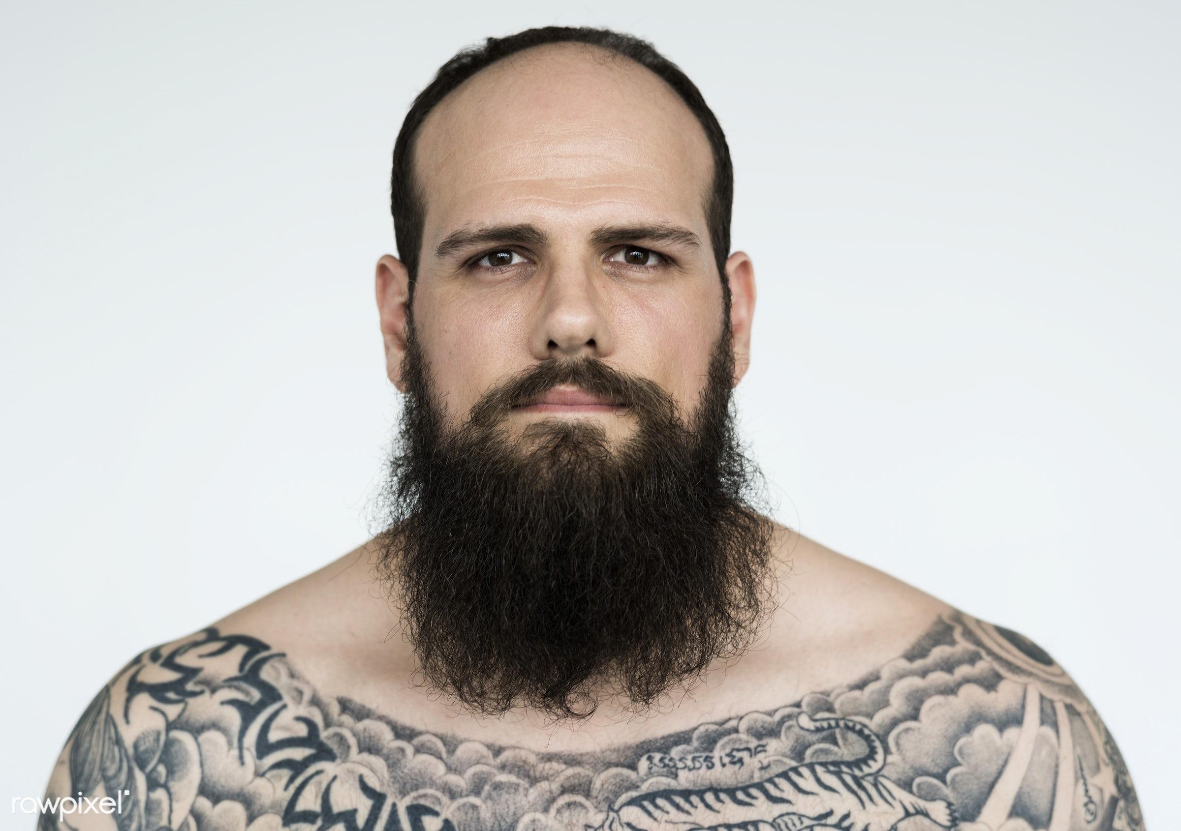 Portrait of a big tattooed bearded man - studio, body, concept, model, person, technician, people, skin, style, nature,...