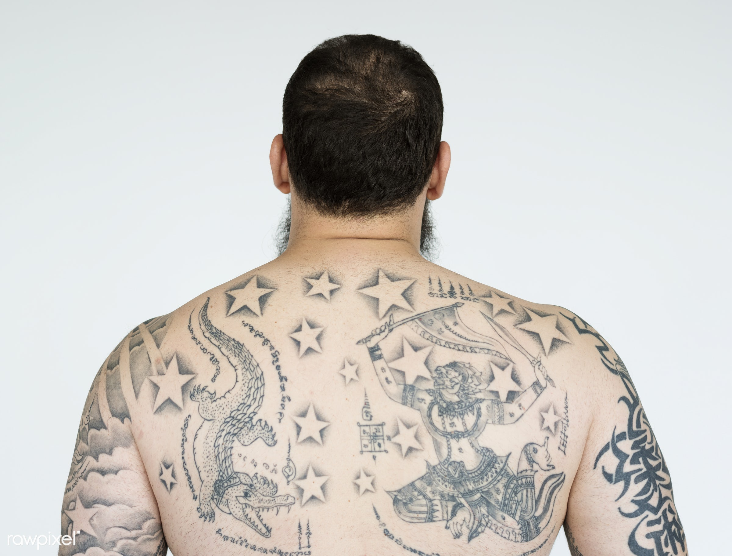 studio, expression, person, model, isolated on white, people, race, style, casual, lifestyle, men, tattoo, man, isolated,...