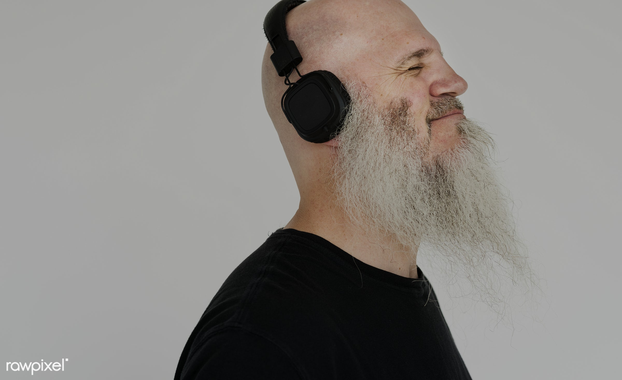 Portrait of a big bearded man listening to music - studio, concept, model, person, people, style, nature, stylish, men, man...