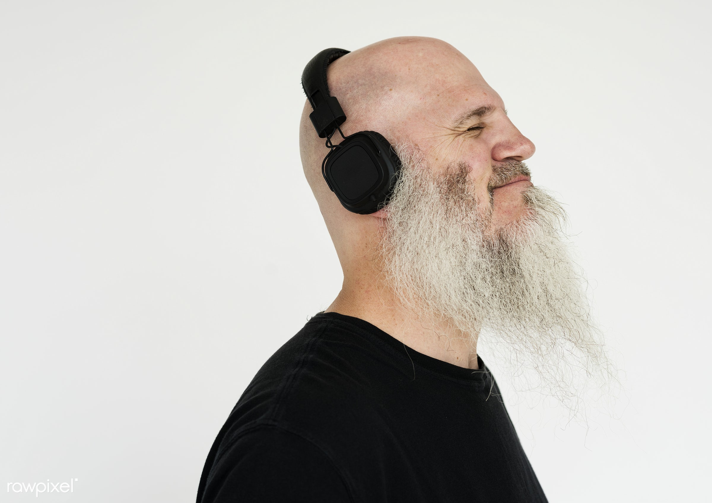 Portrait of a big bearded man listening to music - studio, concept, model, person, people, style, nature, stylish, men,...