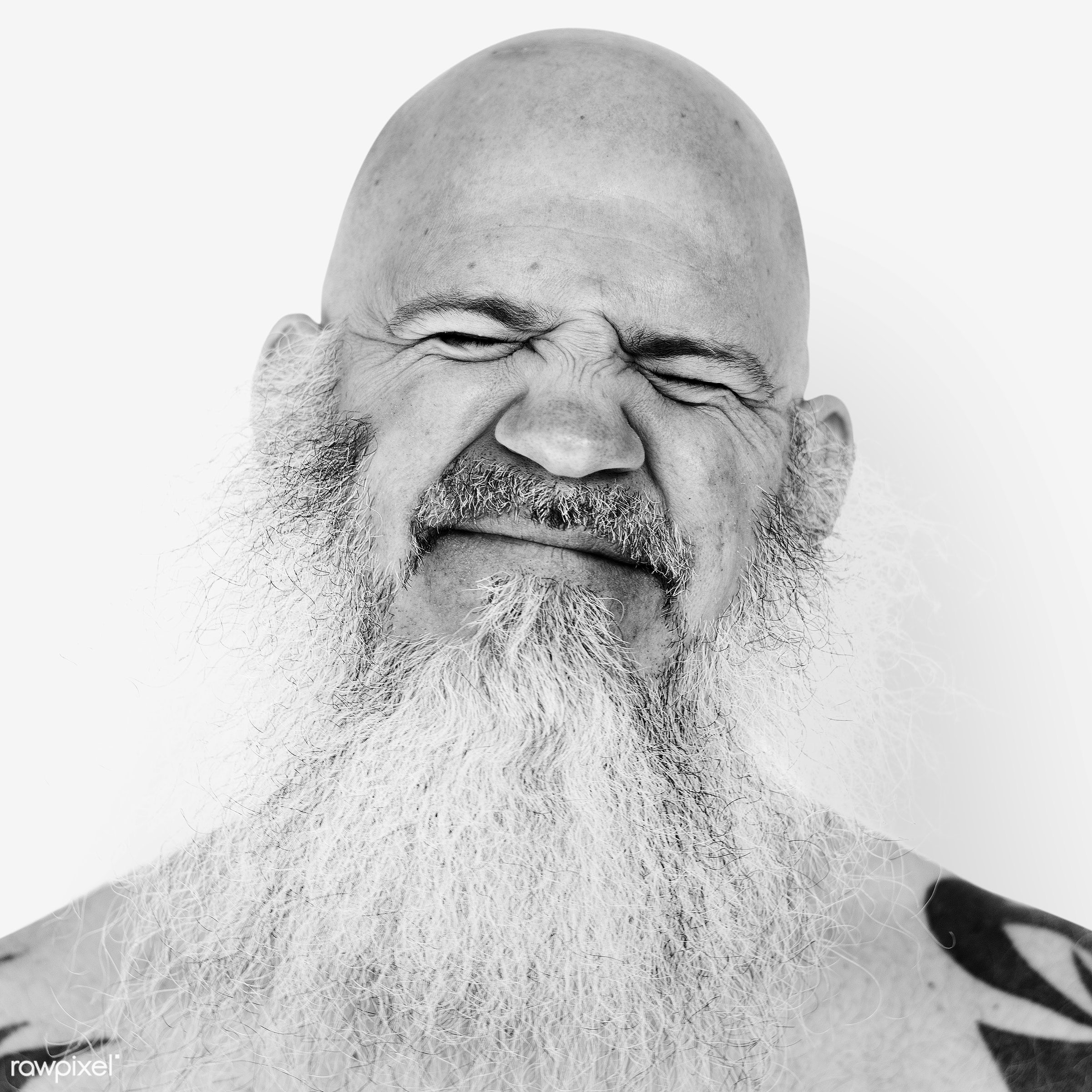 Portrait of an American man - america, american, art, bald, beard, black and white, closeup, emotion, expression, face,...
