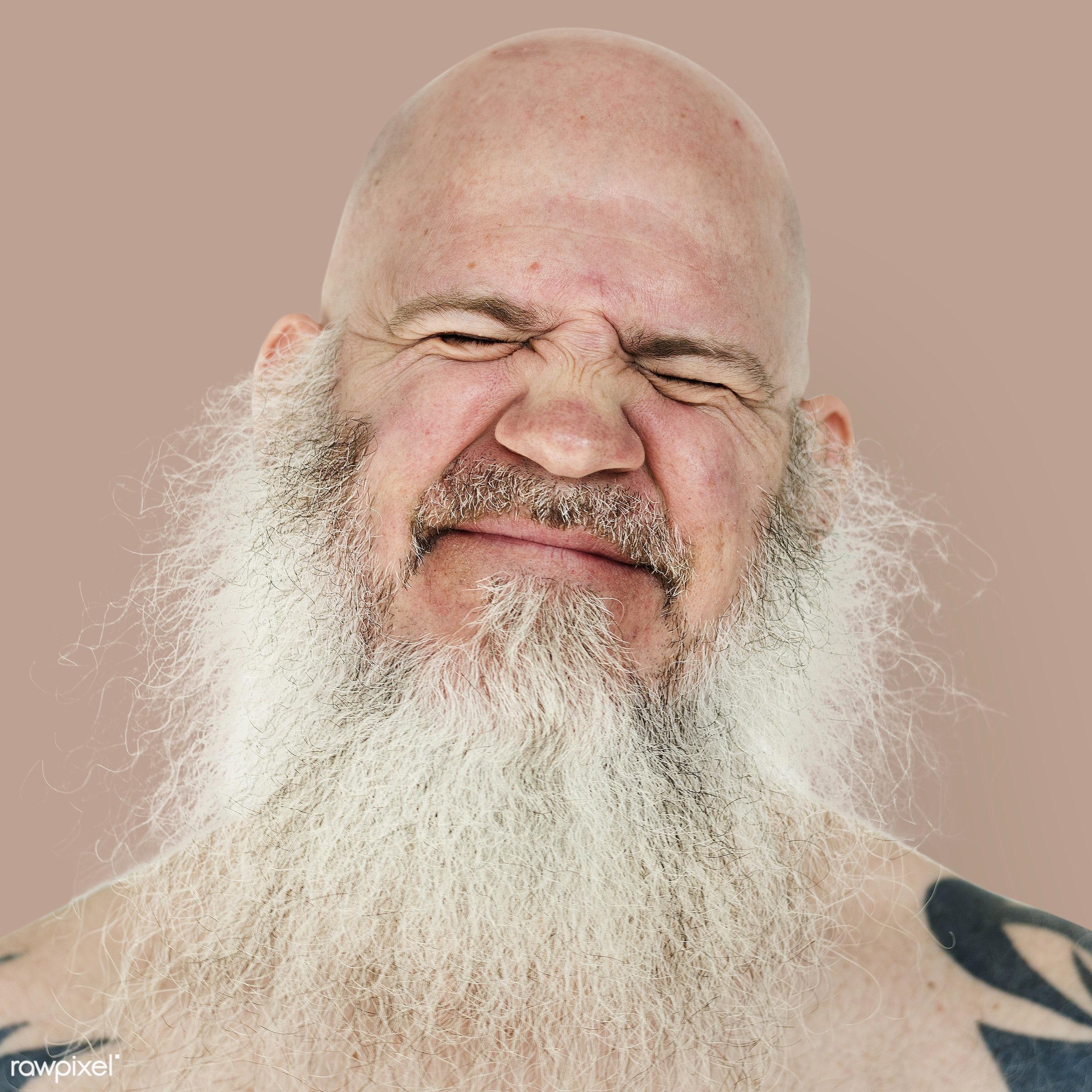 Portrait of an American man - usa, america, american, art, bald, beard, closeup, emotion, expression, face, guy, man, person...