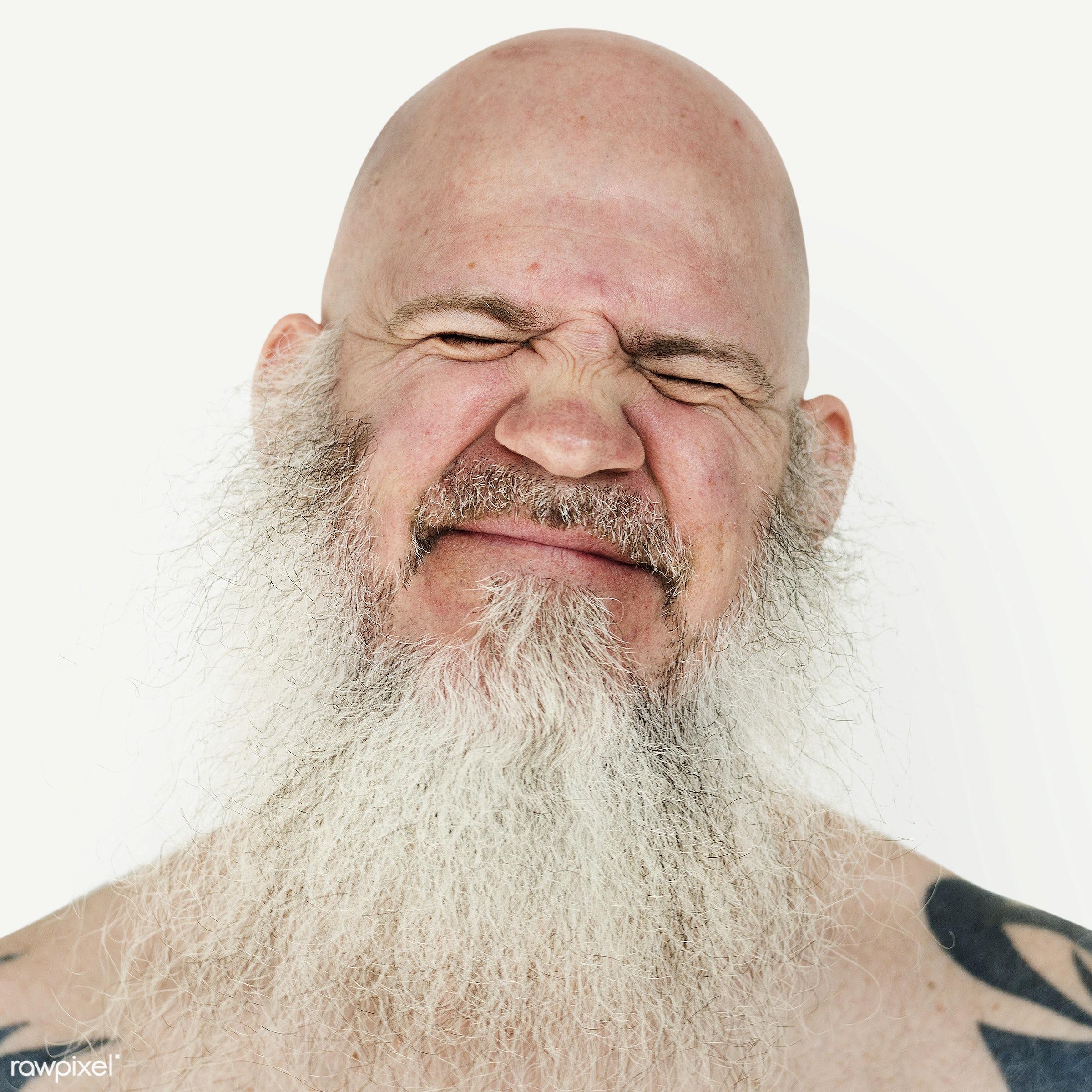 Portrait of an American man - america, american, art, bald, beard, closeup, emotion, expression, face, guy, man, person,...