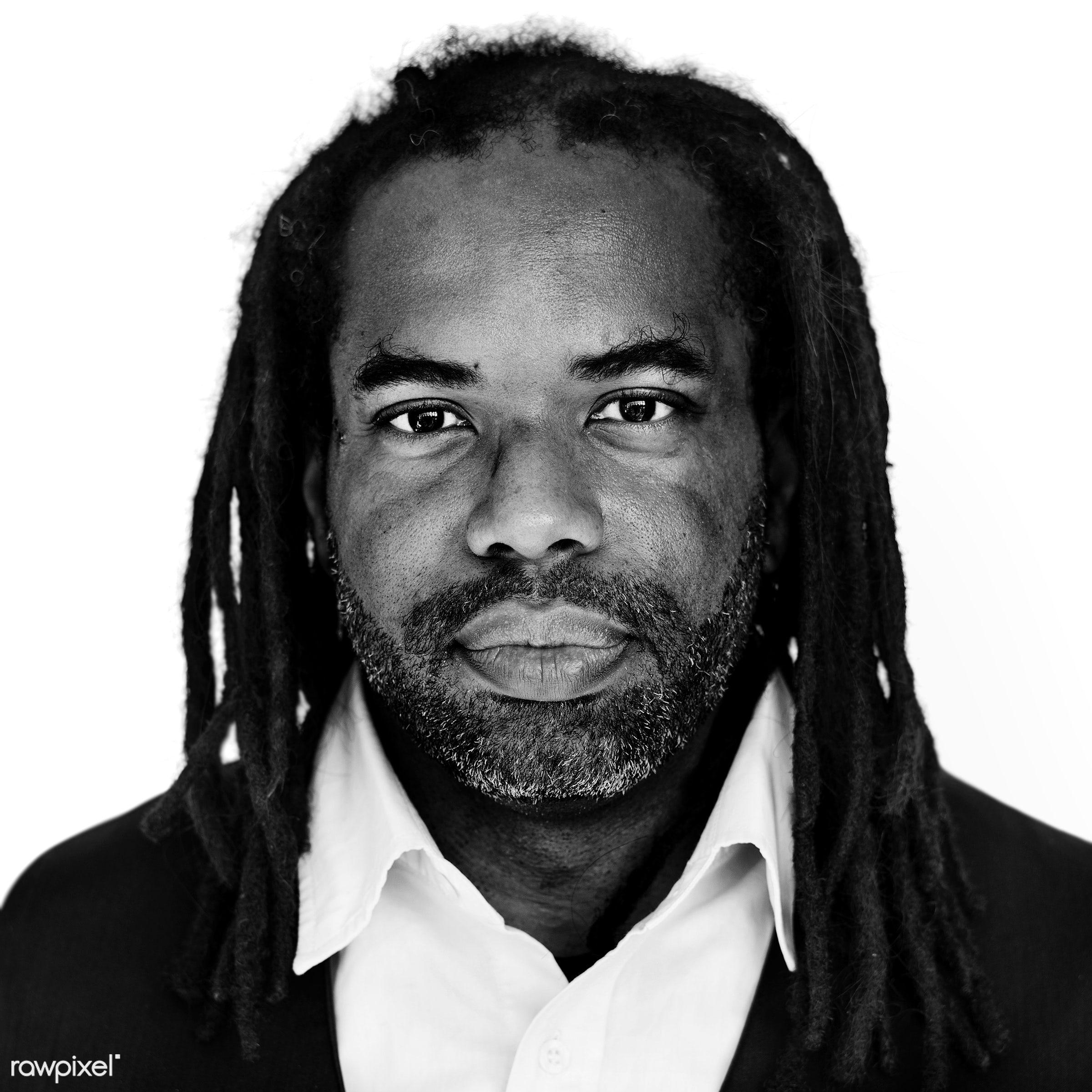 Portrait of an African American man - african, african american, african descent, alone, american, bald, beard, black, black...
