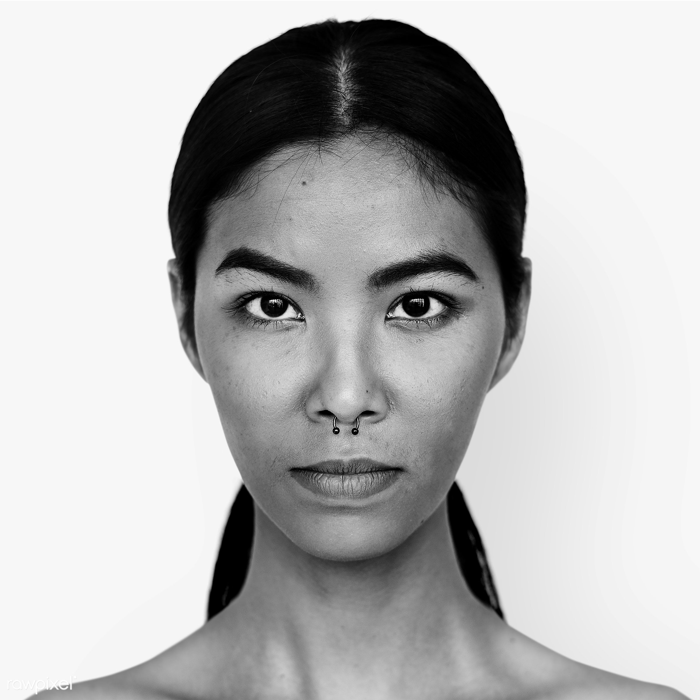 Portrait of a Thai woman - face, alone, asia, asian, black and white, casual, emotion, expression, feeling, grayscale,...
