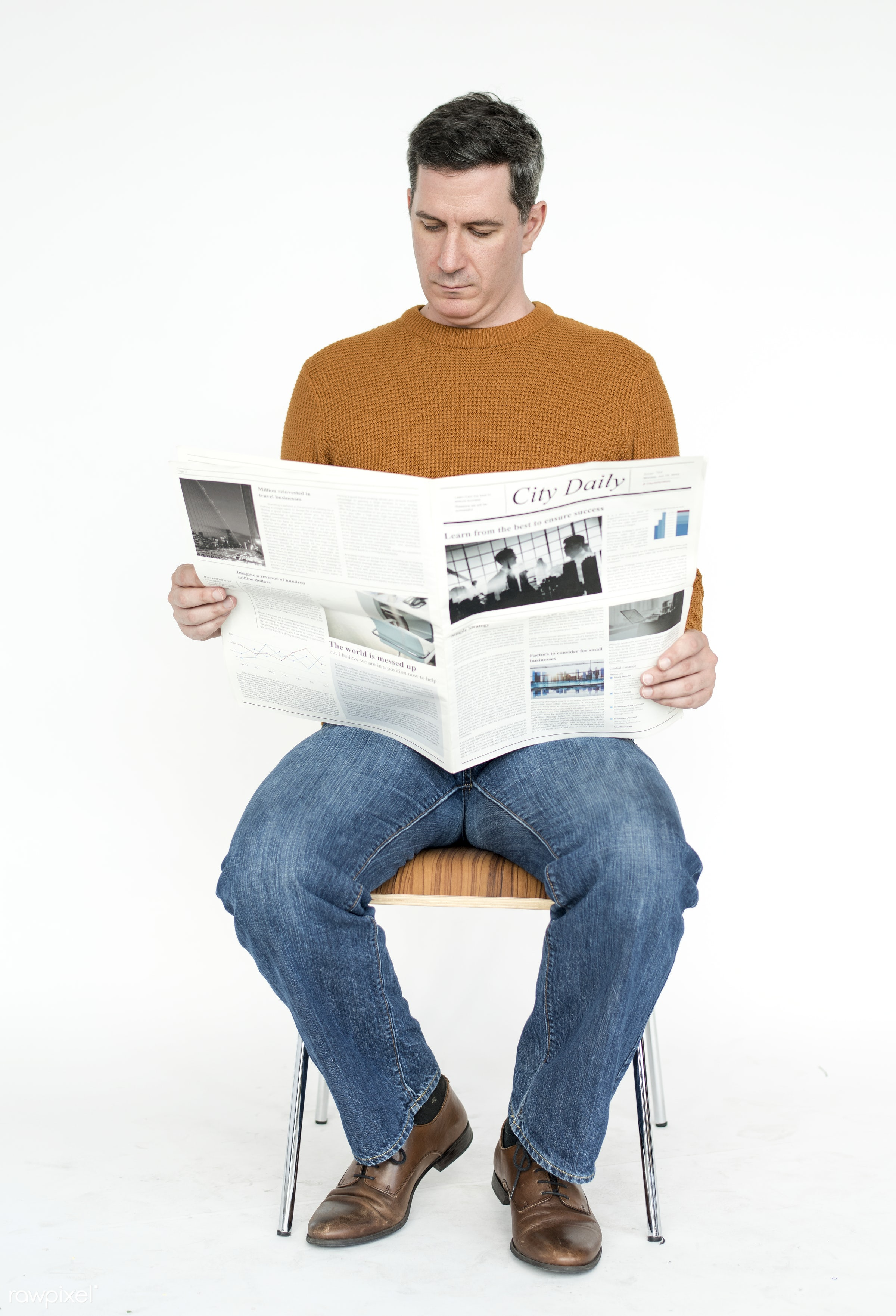 expression, studio, model, person, reading, isolated on white, race, people, style, casual, lifestyle, men, man, isolated,...