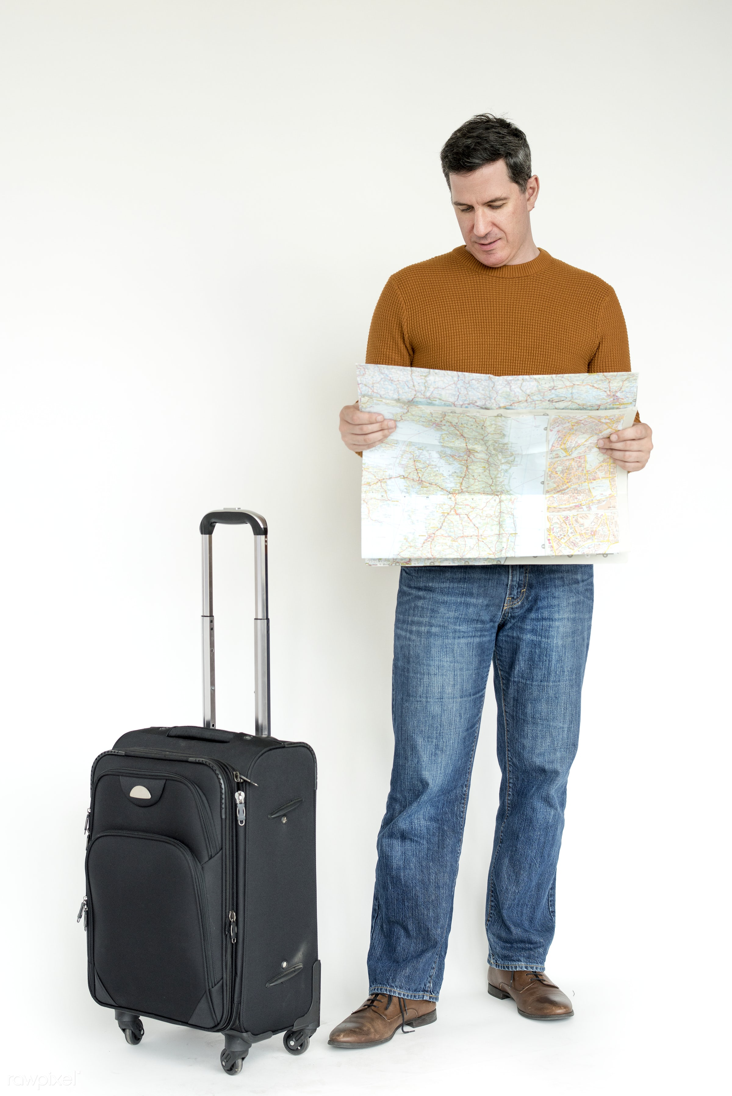 expression, studio, model, person, isolated on white, luggage, race, people, style, casual, lifestyle, map, men, man,...