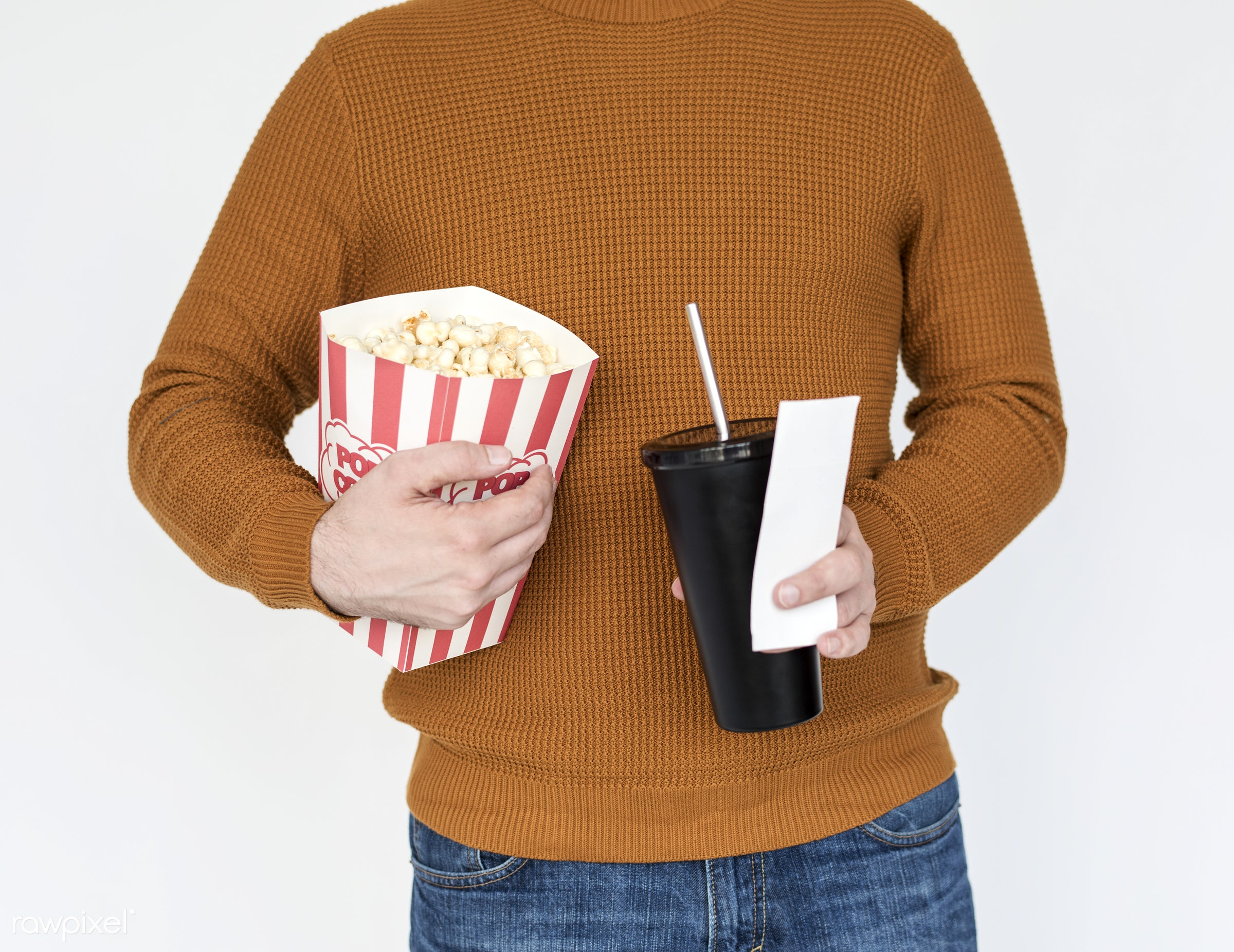 studio, popcorn, expression, person, model, isolated on white, race, people, style, casual, lifestyle, men, man, isolated,...