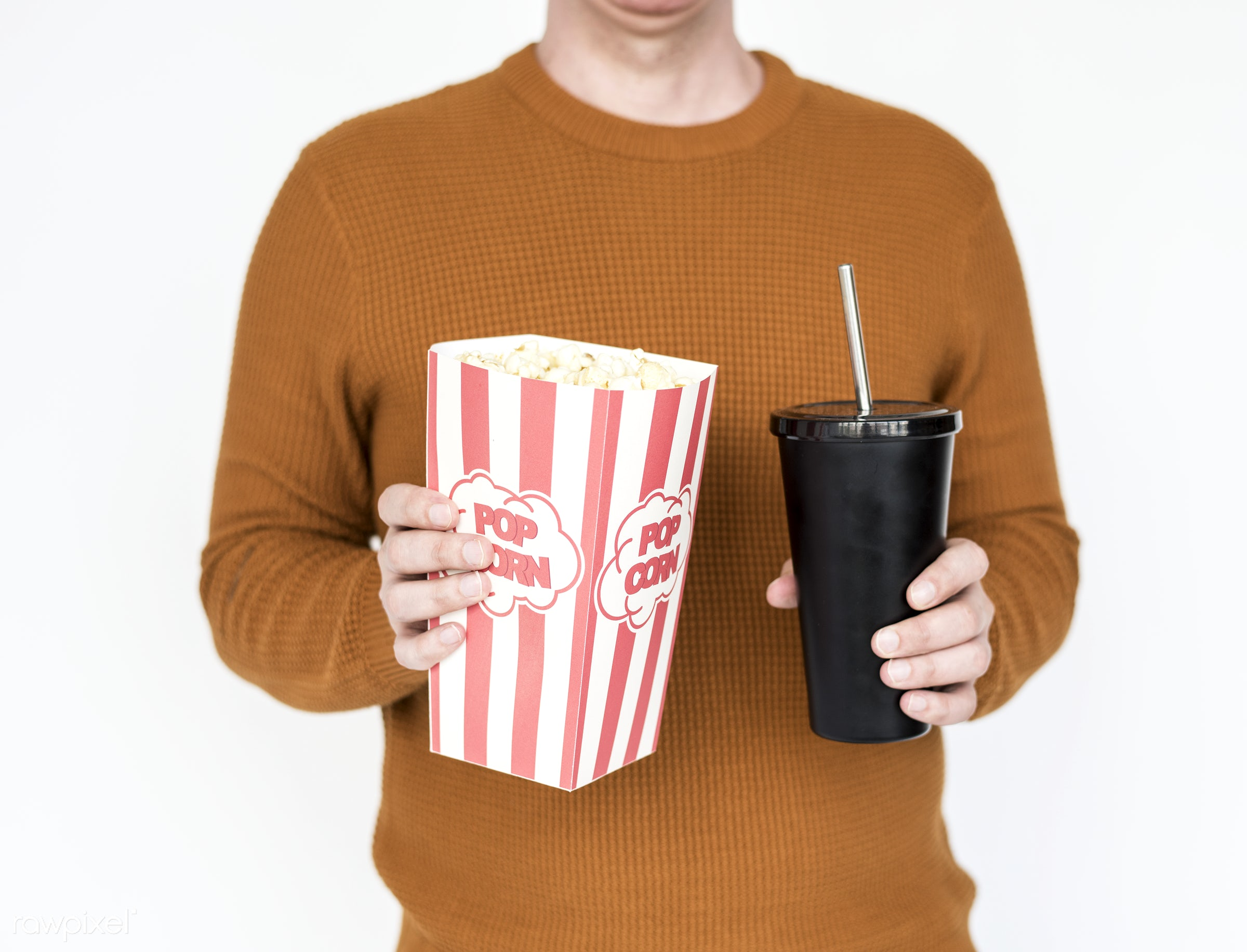 expression, popcorn, studio, model, person, isolated on white, race, people, style, casual, lifestyle, men, man, isolated,...
